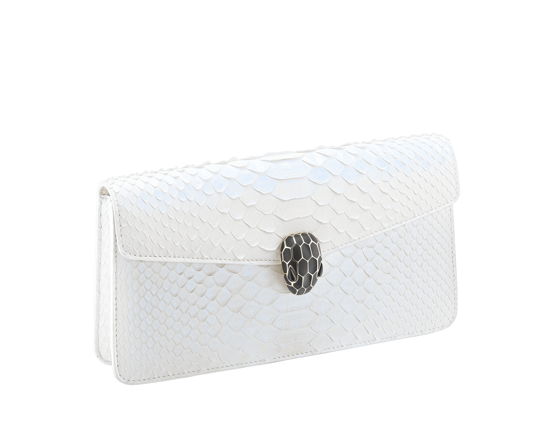"""""""Serpenti Forever"""" shoulder bag in white agate python skin with an iridescent finishing. Iconic snake head closure in light gold plated brass enriched with matte black and shiny white agate enamel and black onyx eyes. 289774 image 2"""