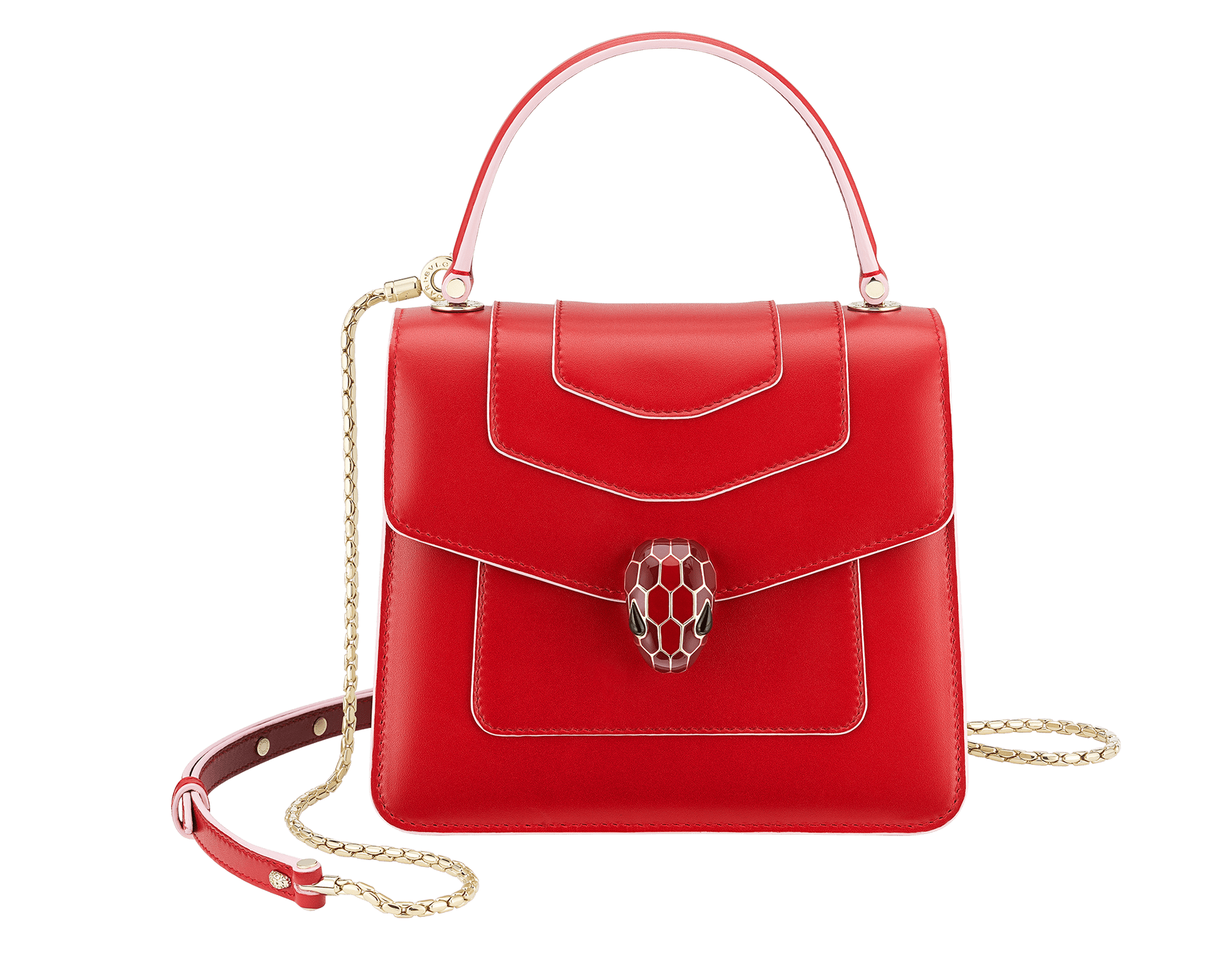 """Serpenti Forever "" crossbody bag in white agate calf leather body and ruby red calf leather sides. Iconic snakehead closure in light gold plated brass enriched with ruby red and white agate enamel and black onyx eyes. 752-BCLa image 1"
