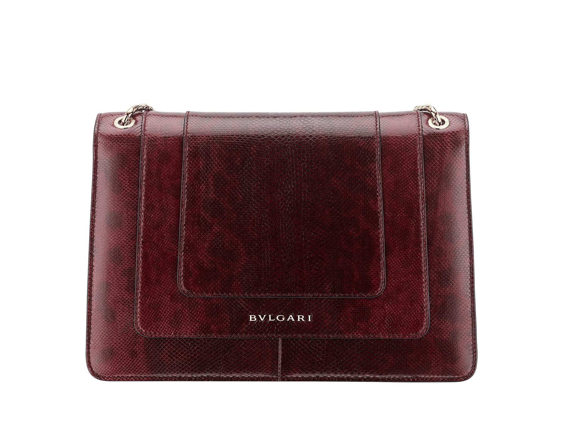 Flap cover bag Serpenti Forever in roman garnet shiny karung skin. Brass light gold plated tempting snake head closure in shiny black and white enamel, with eyes in green malachite. 286199 image 3