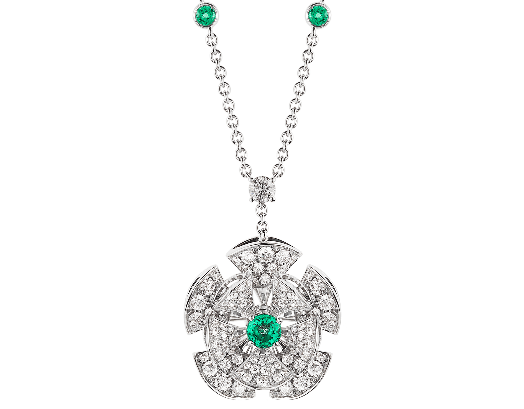 DIVAS' DREAM necklace in 18 kt white gold with chain set with emeralds and a diamond, and a pendant set with a central emerald and pavé diamonds. 352626 image 1