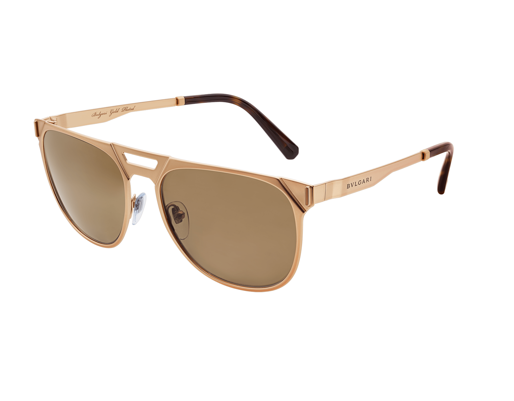 Bvlgari Octo squared pilot gold plated metal sunglasses with polar lenses. 903688 image 1