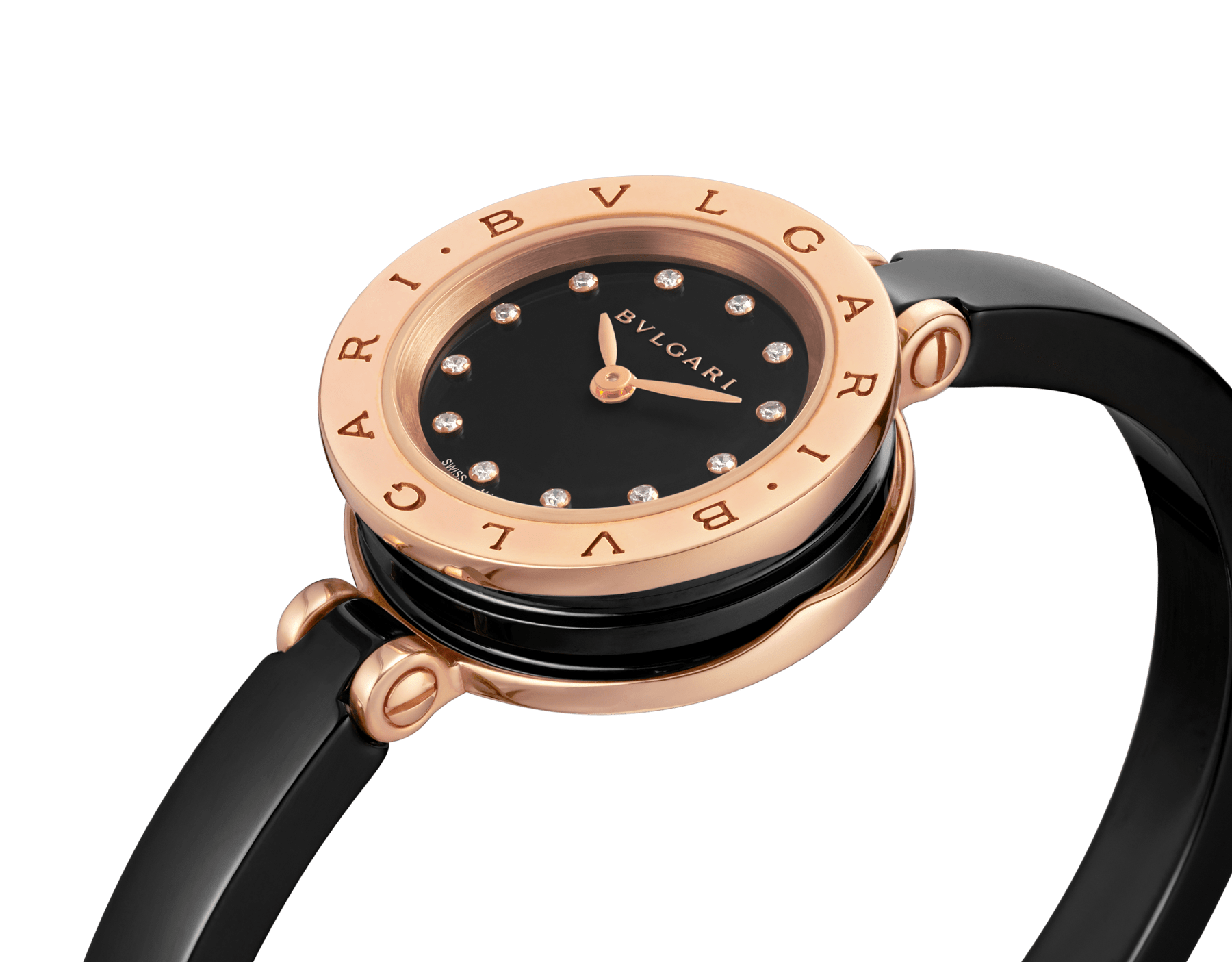 B.zero1 watch with 18 kt rose gold and black ceramic case, black lacquered dial set with diamond indexes, black ceramic bangle and 18 kt rose gold clasp. B01watch-black-black-dial2 image 2