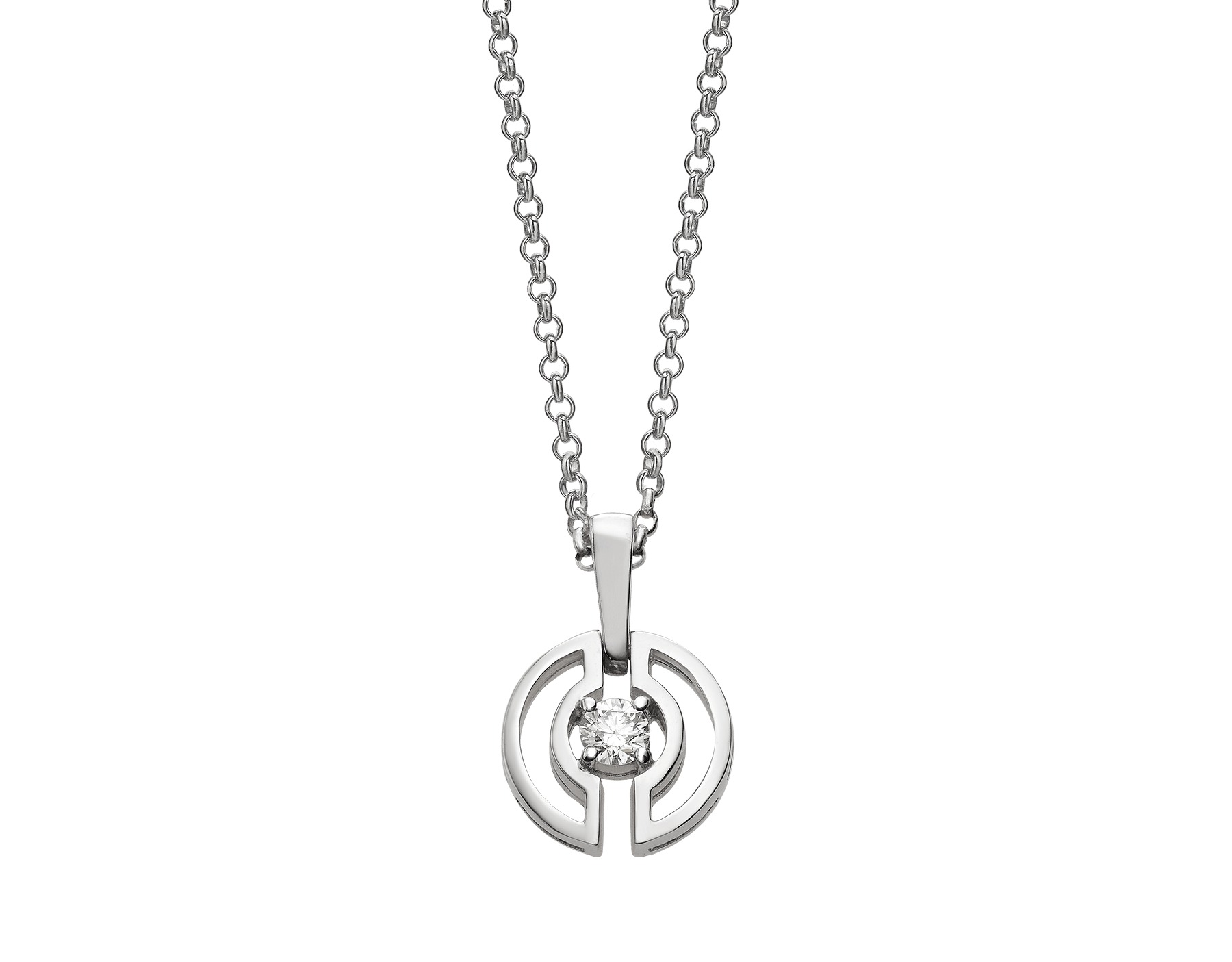 Parentesi necklace with 18 kt white gold chain and pendant, set with a central diamond. 354311 image 1
