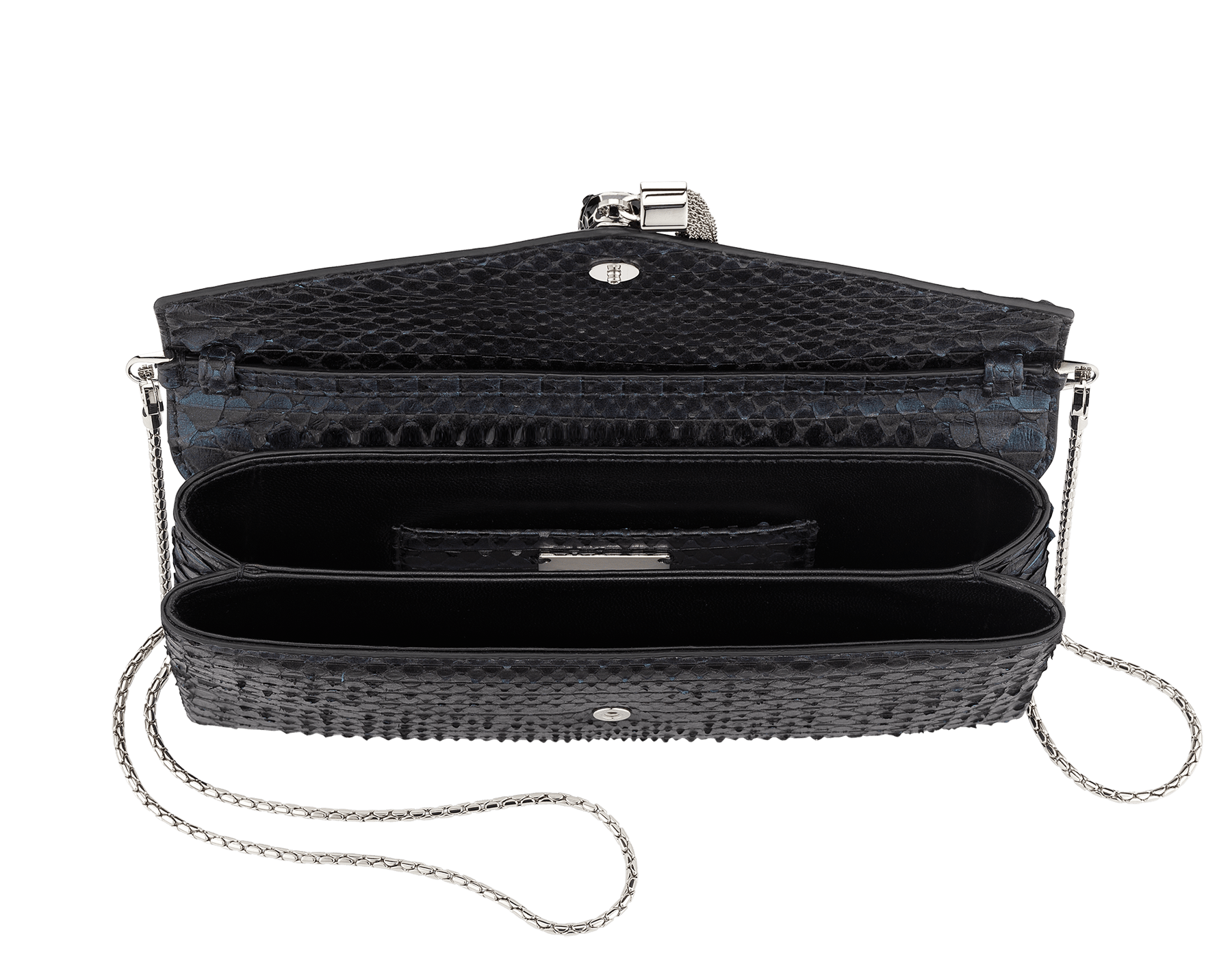 """Serpenti"" evening clutch bag in deep jade Plissé python skin. Iconic snakehead stud closure with tassel in palladium plated brass enriched with black and deep jade enamel and black onyx eyes. 288168 image 4"