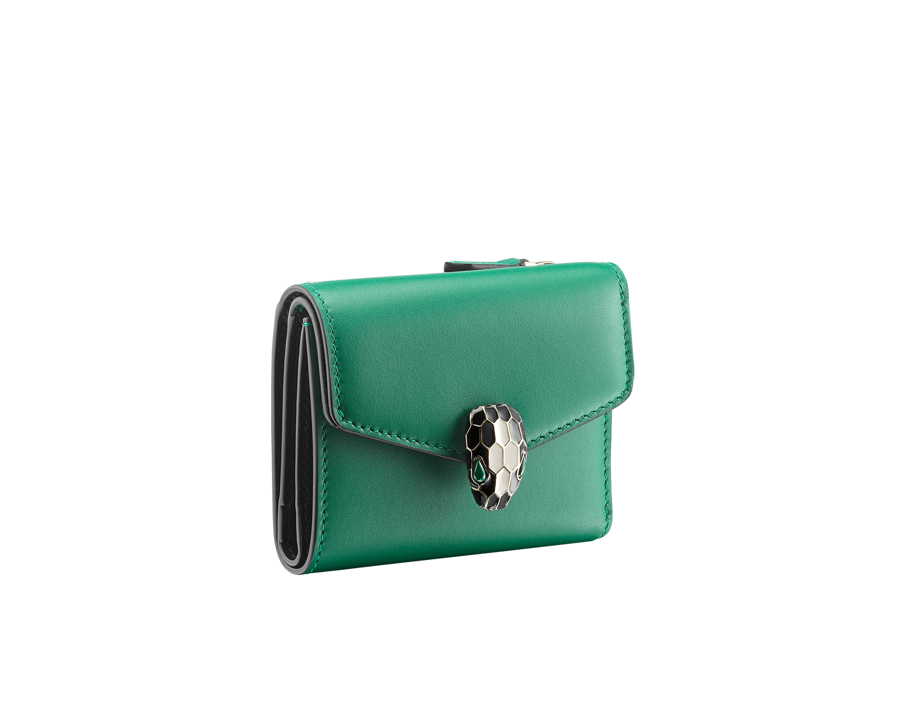Serpenti Forever compact wallet in daisy topaz calf leather and white agate goatskin. Iconic light gold plated brass snake head stud closure in white agate and daisy topaz enamel, with black onyx eyes. SEA-SLIMCOMPACT-CLa image 2
