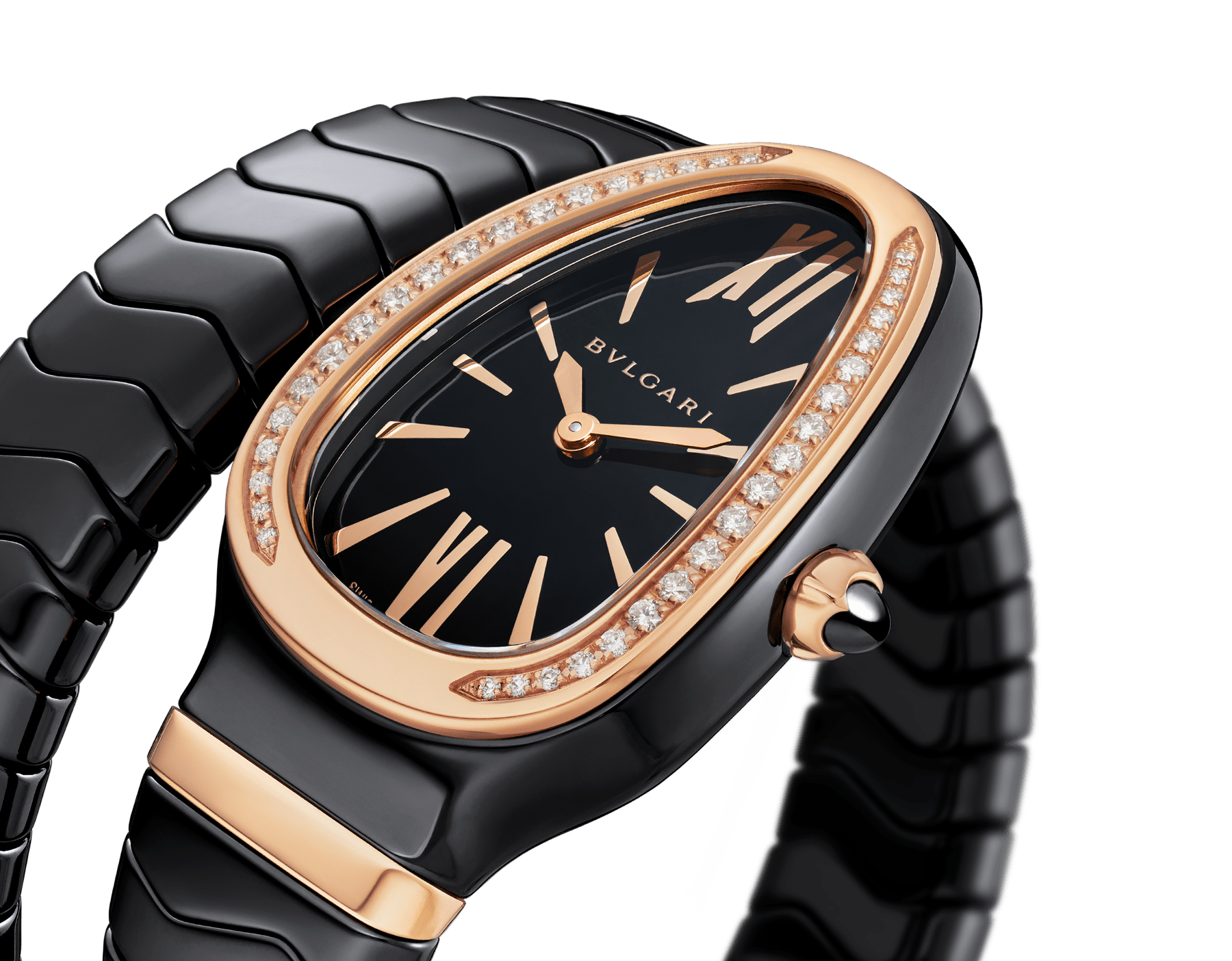 Serpenti Spiga single spiral watch with black ceramic case, 18 kt rose gold bezel set with brilliant cut diamonds, black lacquered dial, black ceramic bracelet with 18 kt rose gold elements. 102532 image 3