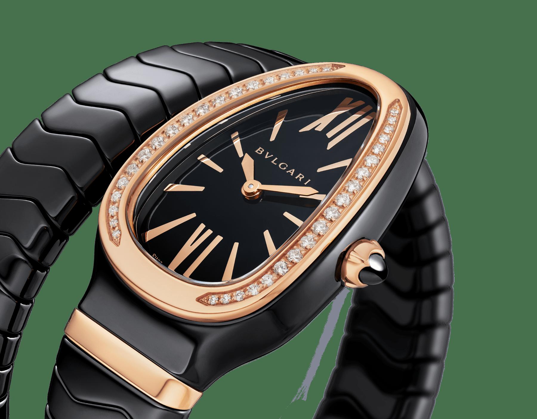 Montre Serpenti Spiga avec boîtier en céramique noire, lunette en or rose 18K sertie de diamants taille brillant, cadran laqué noir, bracelet une spirale en céramique noire avec éléments en or rose 18K. 102532 image 3