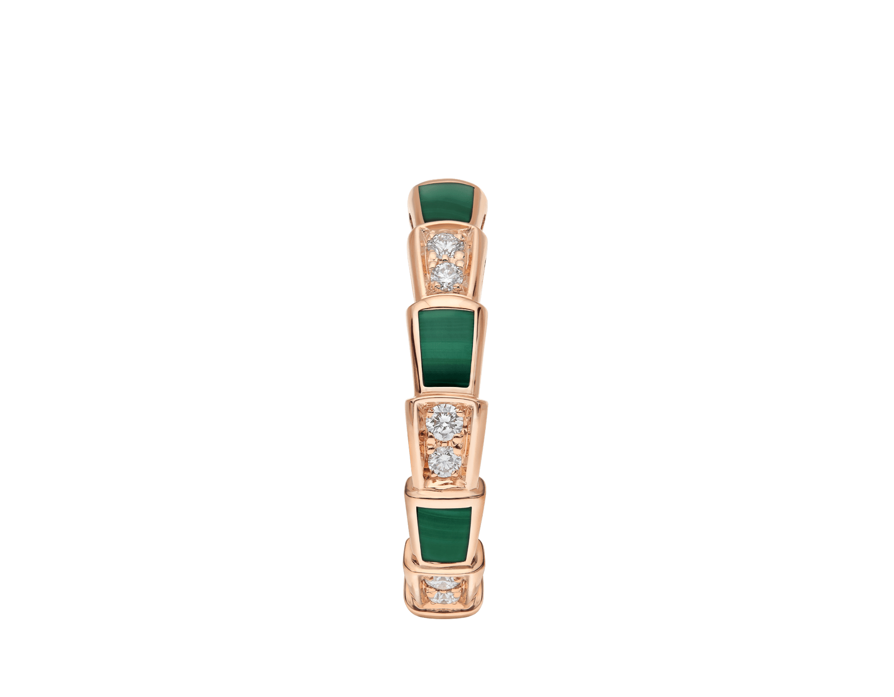 Serpenti Viper 18 kt rose gold thin ring set with malachite elements and pavé diamonds (0.20 ct) AN858752 image 2