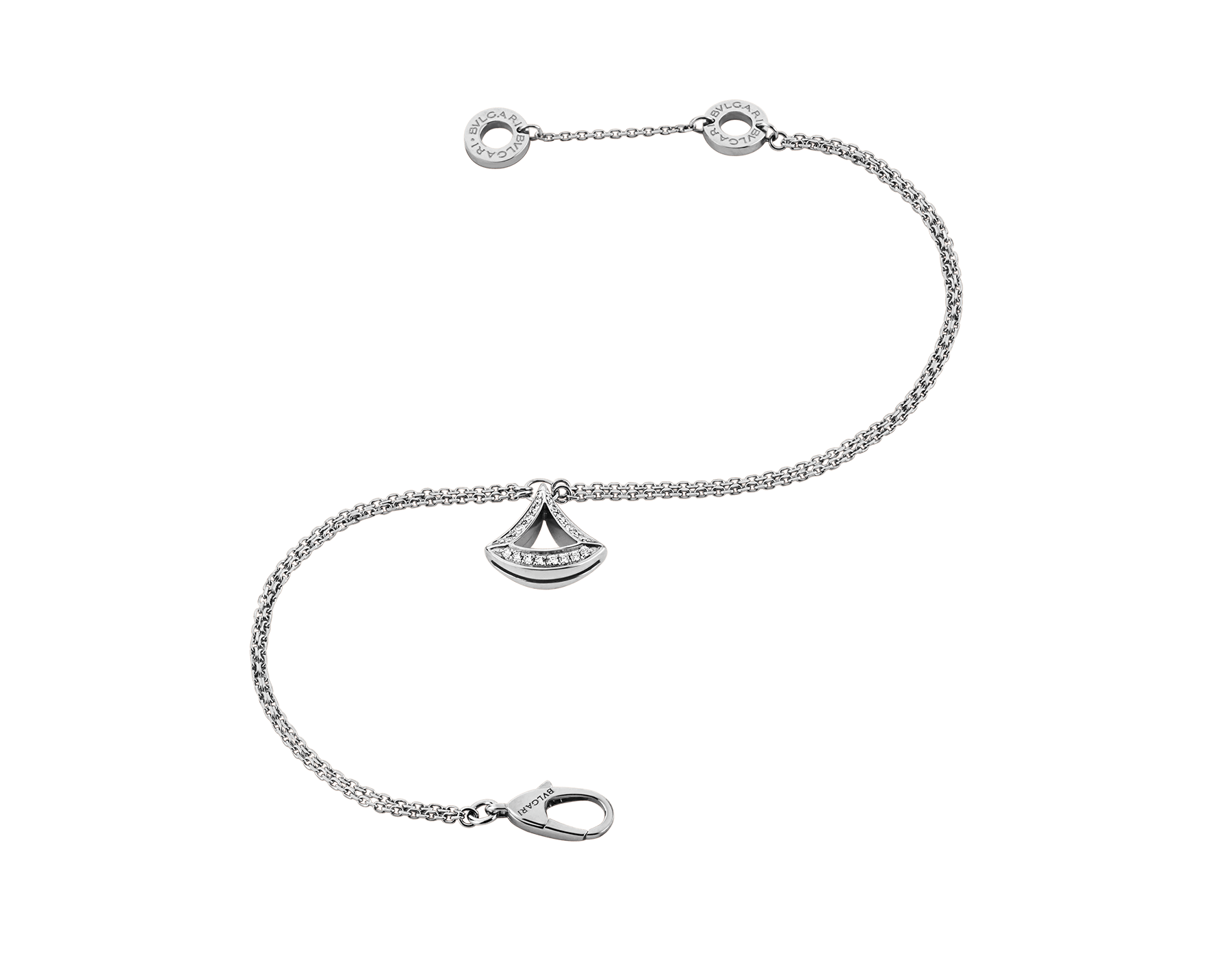 DIVAS' DREAM openwork bracelet in 18 kt white gold with 18 kt white gold pendant set with pavé diamonds (0.20 ct). BR858077 image 2