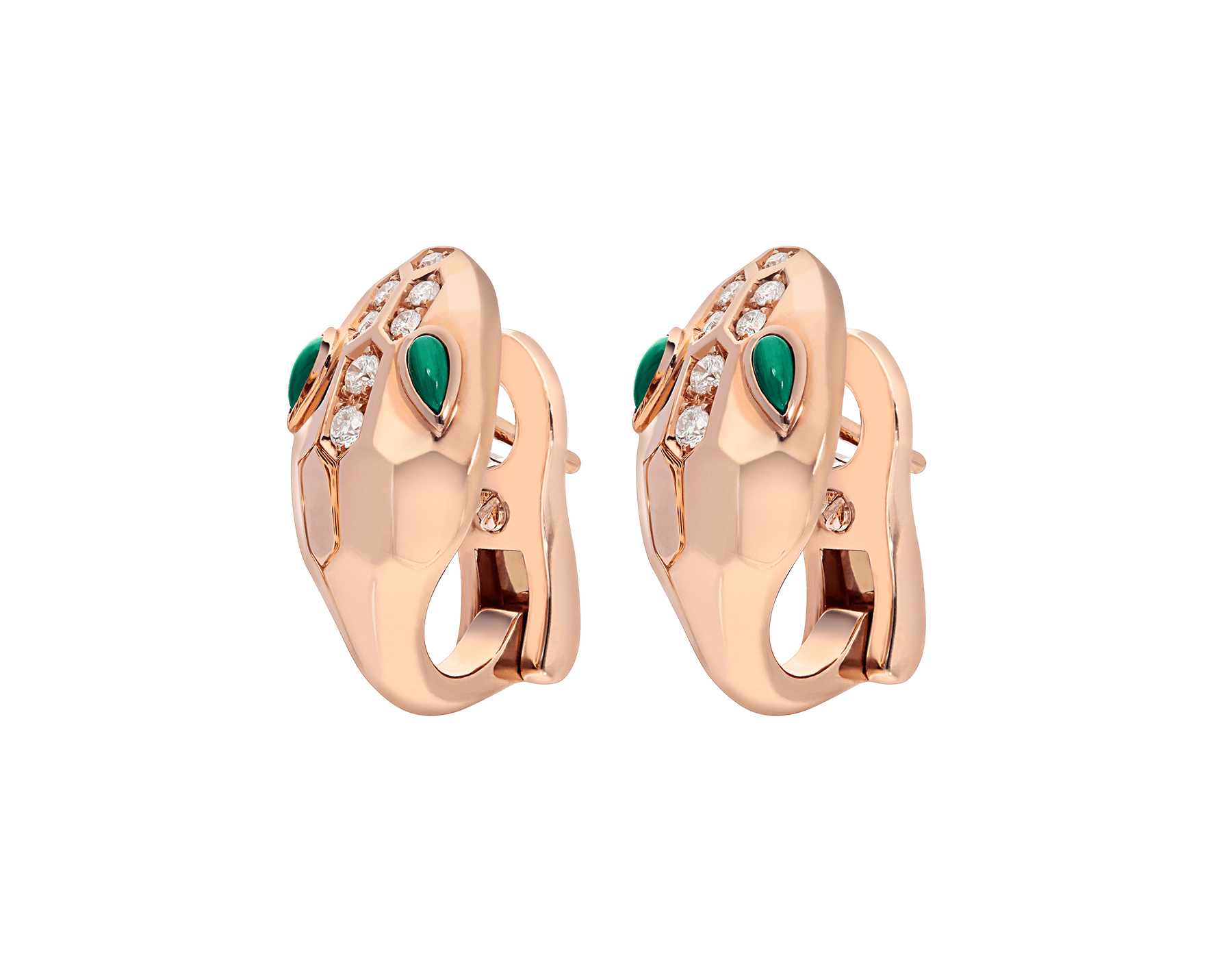 Serpenti earrings in 18 kt rose gold, set with malachite eyes and demi pavé diamonds. 352701 image 2