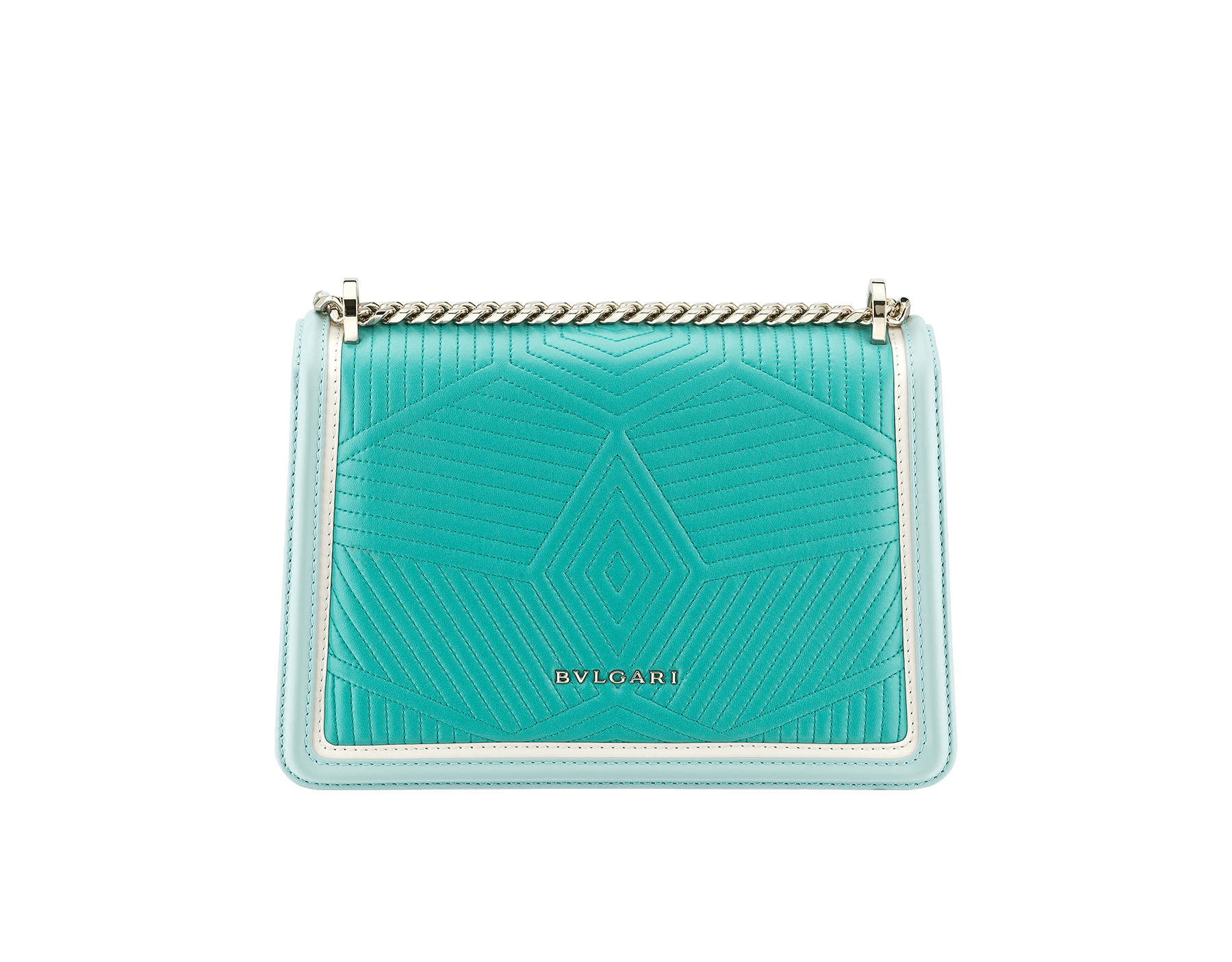 """Serpenti Diamond Blast"" shoulder bag in arctic jade quilted nappa leather and with glacier turquoise and white agate smooth calf leather frames. Iconic snakehead closure in light gold plated brass enriched with arctic jade and glacier turquoise enamel and black onyx eyes. 288824 image 3"