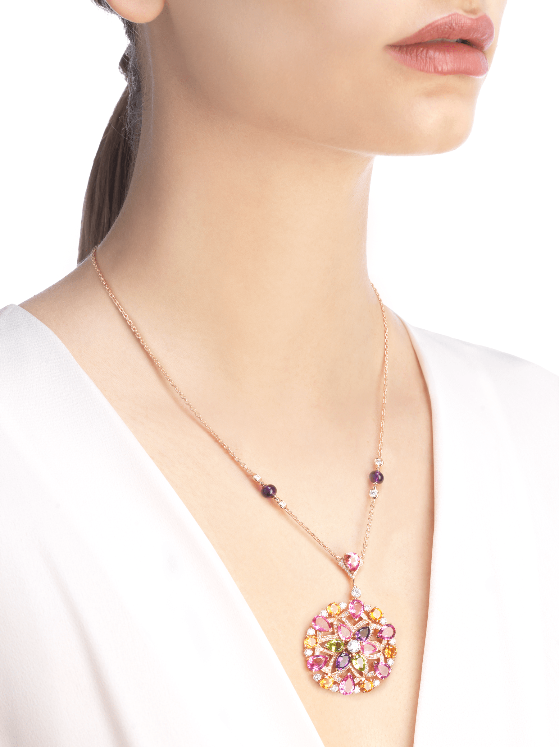 DIVAS' DREAM 18 kt rose gold necklace set with coloured gemstones, brilliant-cut and pavé diamonds. 355907 image 2