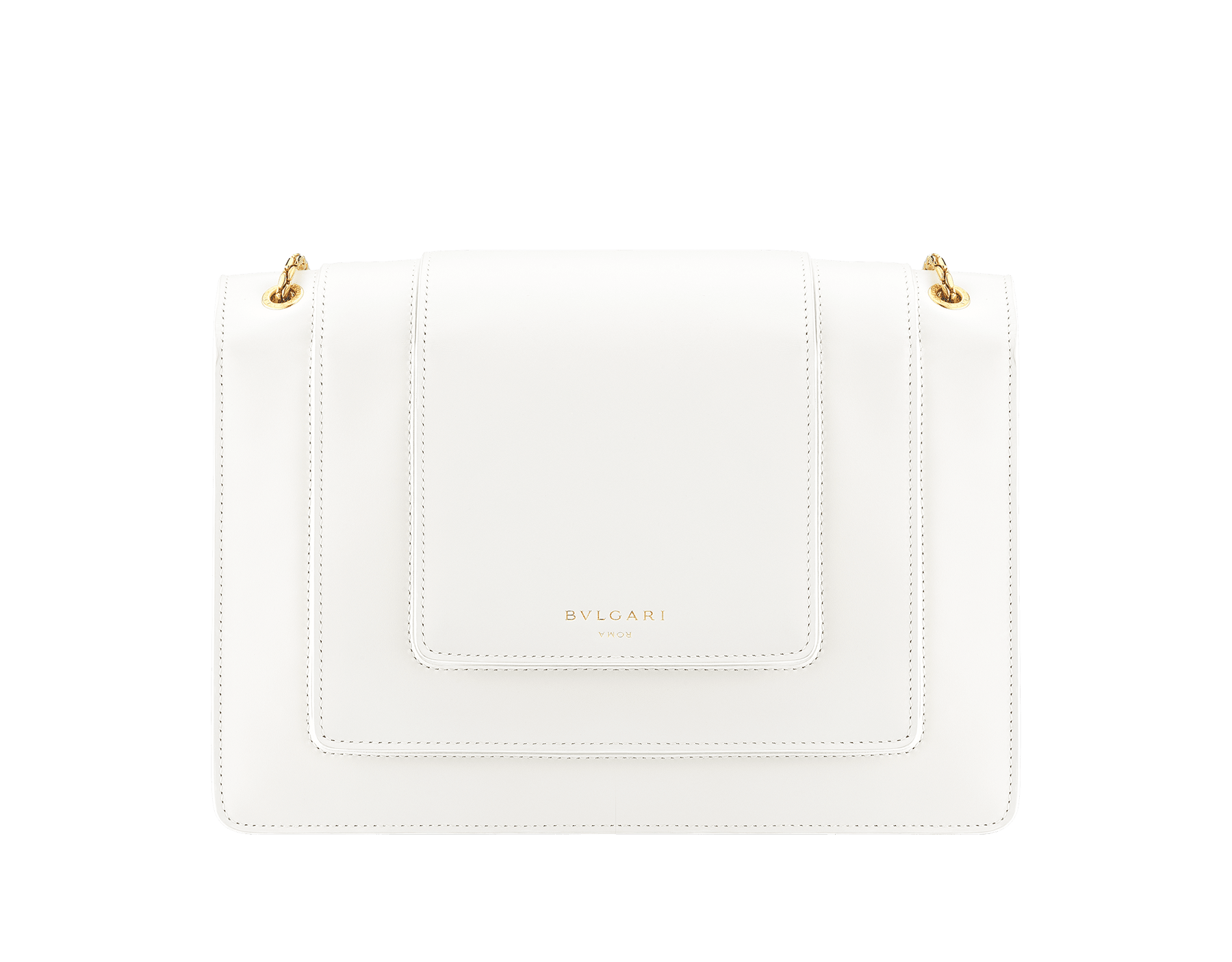 Alexander Wang x Bvlgari Triplette shoulder bag in smooth white calf leather. New triple Serpenti head closure in antique gold plated brass with tempting red enamel eyes. Limited edition. 288744 image 3