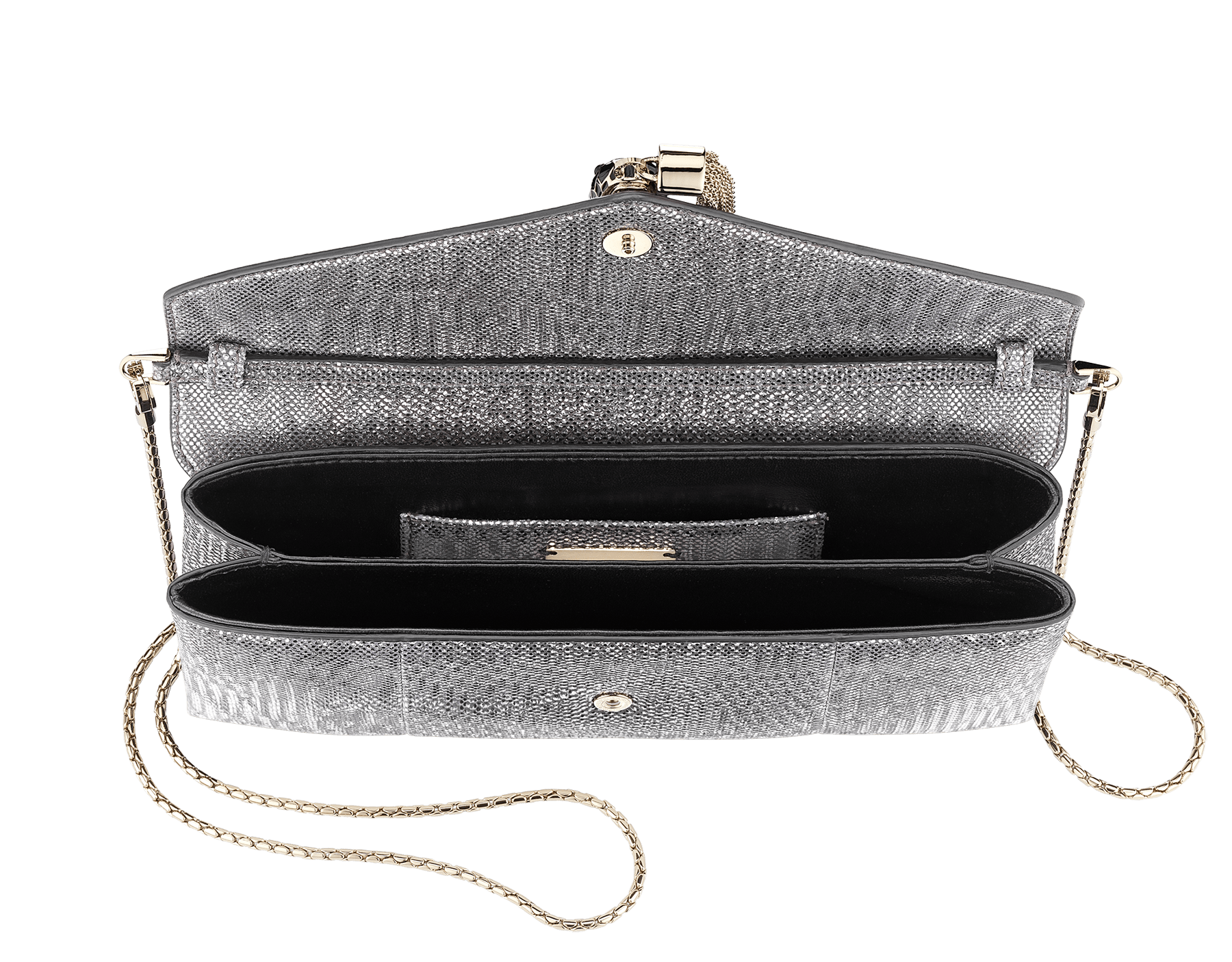 Serpenti evening clutch in charcoal diamond metallic karung skin. Snakehead stud closure with tassel in light gold plated brass decorated with black and glitter charcoal diamond enamel, and black onyx eyes. 288165 image 4