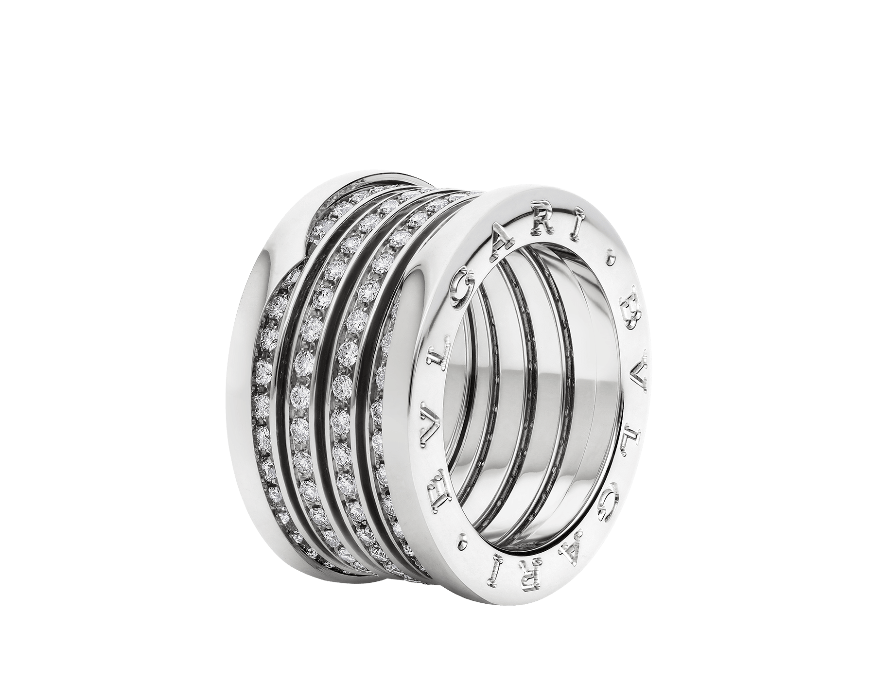 B.zero1 XXth Anniversary five-band ring in 18 kt white gold, set with pavé diamonds on the spiral. B-zero1-5-bands-AN858666 image 1
