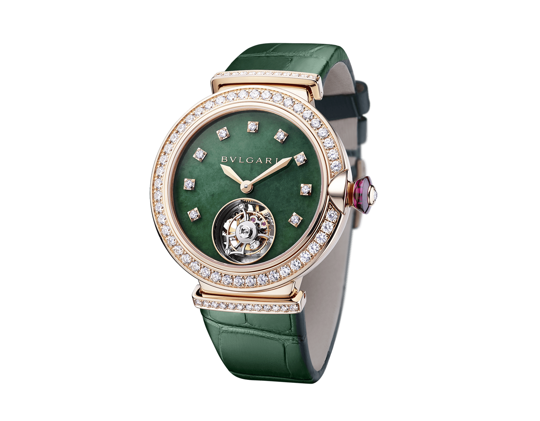 LVCEA Tourbillon 腕錶搭載機械機芯,自動上鍊,鏤空陀飛輪。18K 玫瑰金錶殼鑲飾鑽石,翡翠錶盤,綠色鱷魚皮錶帶。 102693 image 1