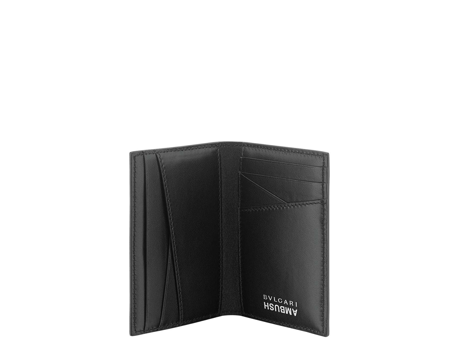 """Ambush x Bvlgari"" vertical card holder in bright green and black nappa leather. Palladium plated brass ""BVLGARI AMBUSH"" décor on one side and special ""BVLGARI AMBUSH"" logo print on the other. Limited Edition. YA-VERTICALCCH image 2"
