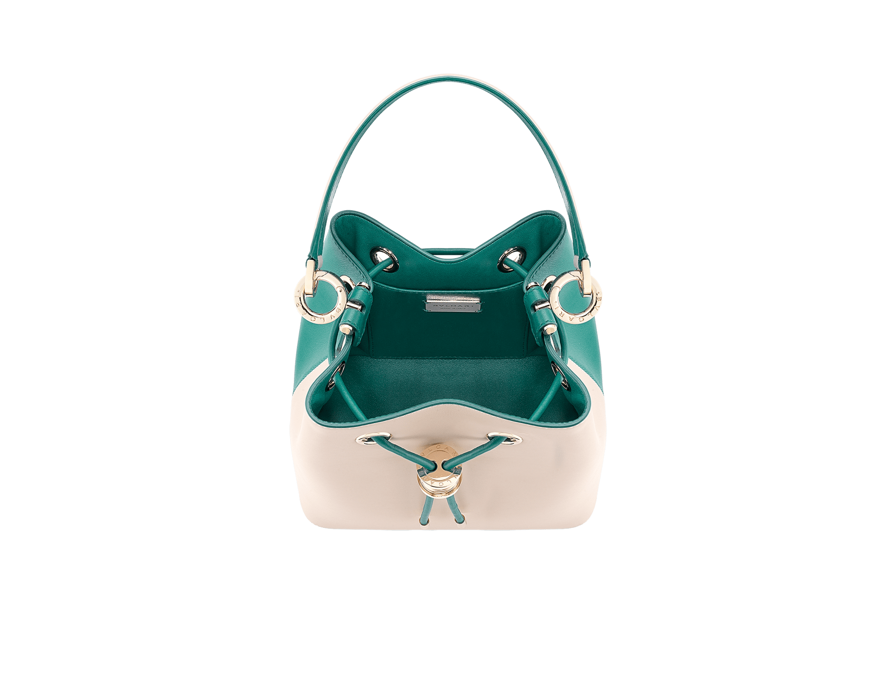 Bucket B.zero1 in milky opal and tropical turquoise smooth calf leather and tropical turquoise nappa lining. Hardware in light gold-plated brass, featuring a B.zero1 décor. 288209 image 4