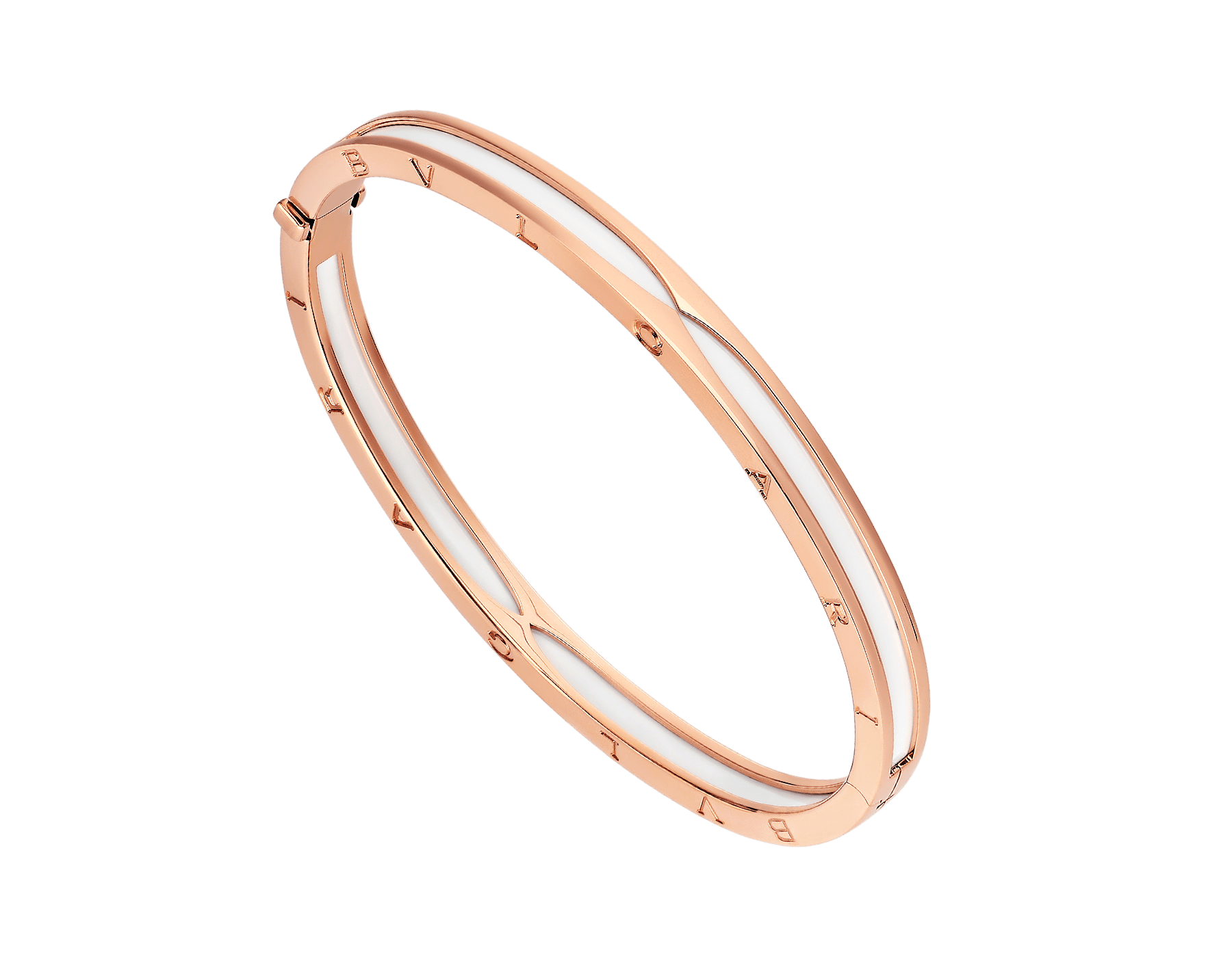 B.zero1 bangle bracelet in 18 kt rose gold with white ceramic. BR857617 image 1