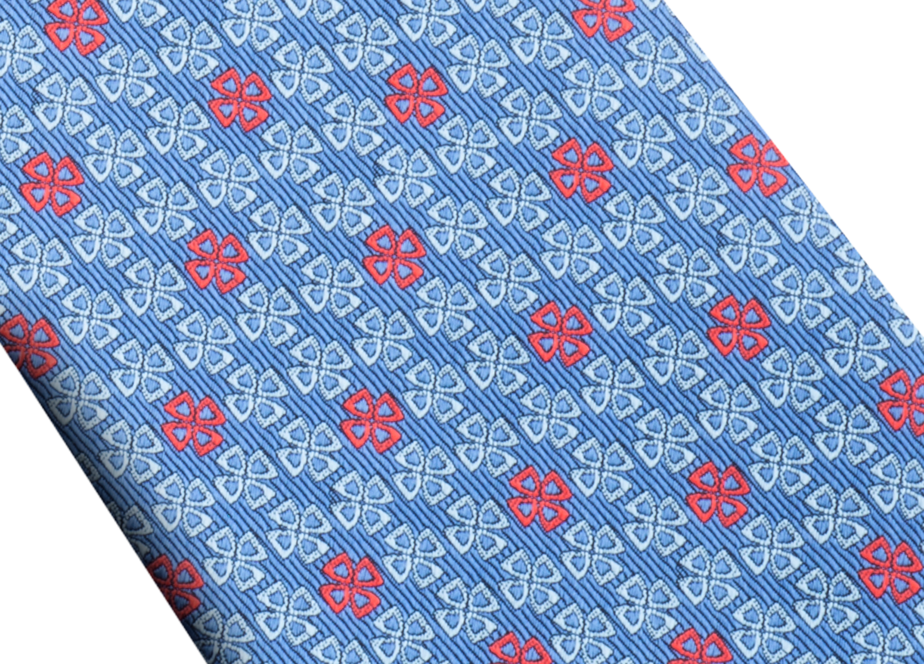 Light blue Fiorever pattern seven-folds tie in fine silk. 243691 image 2