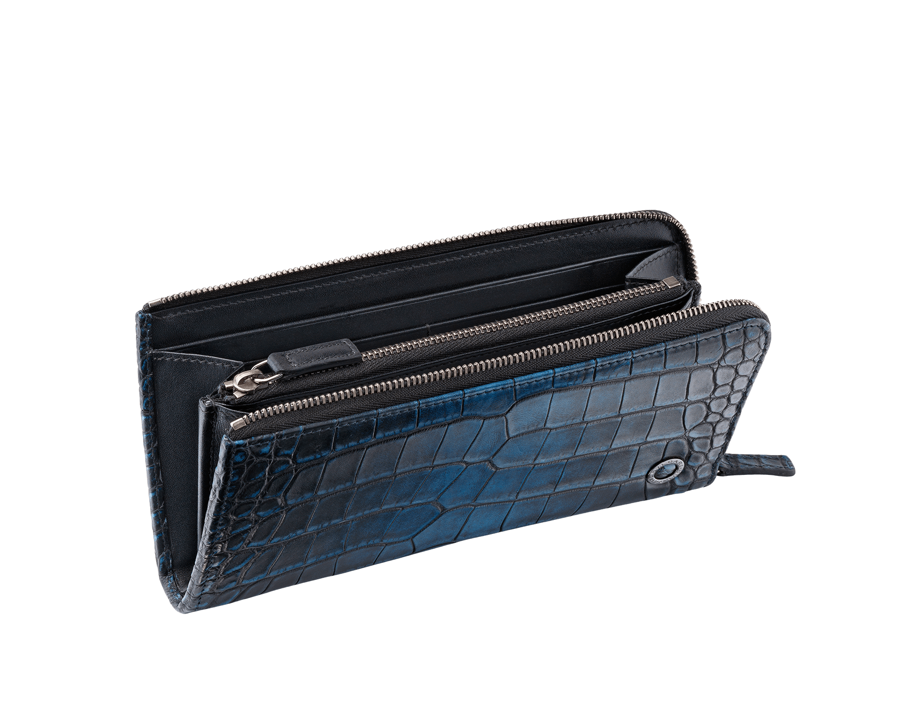 L-shaped zipped wallet in midnight blue alligator skin and black smooth calf leather with brass dark ruthenium plated hardware featuring the Bulgari-Bulgari motif. 38932 image 2
