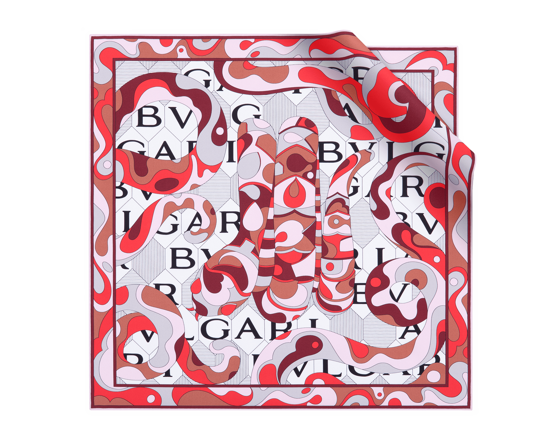 Ruby Dahlia Snakeflage scarf in fine silk twill. 244019 image 2