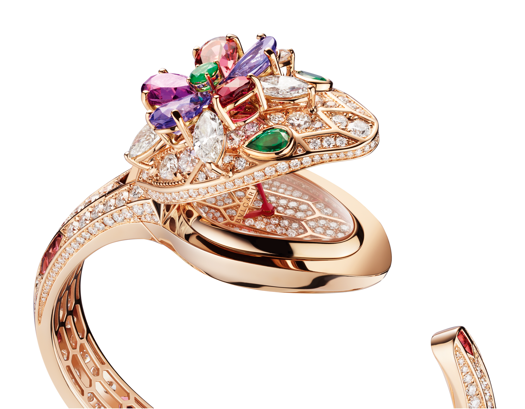 Serpenti Seduttori watch with 18 kt rose gold head set with brilliant cut and navette cut diamonds, pear shaped rubellite, tourmaline, tanzanite and violet garnets, one round cut emerald and two emerald eyes, 18 kt rose gold case, 18 kt rose gold dial set with brilliant cut diamonds, 18 kt rose gold bracelet set with brilliant cut diamonds and baguette tourmalines. 102823 image 2