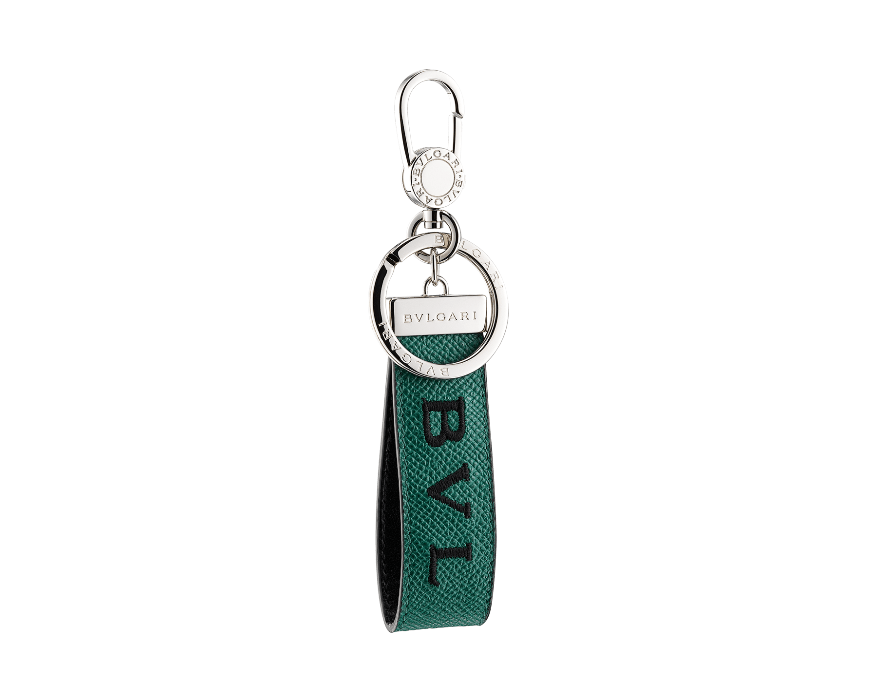 "New ""BVLGARI BVLGARI"" keyring in emerald-green grained calfskin with embroidered black Bvlgari logo. Snap hook and ring in palladium-plated brass, and embellished with iconic logo. BBM-KEYRINGLOGO image 1"