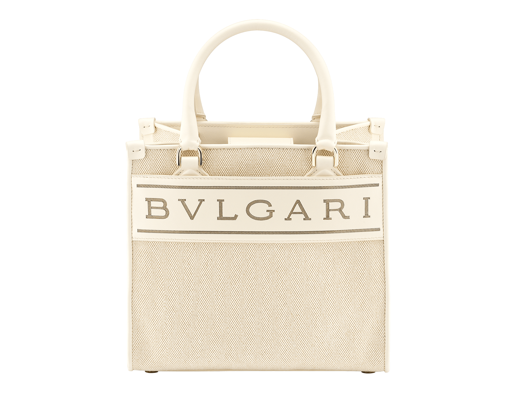 """""""Bvlgari Logo"""" small tote bag in Ivory Opal white canvas, with Beet Amethyst purple grosgrain inner lining. Bvlgari logo featured with light gold-plated brass chain inserts on the Ivory Opal white calf leather. BVL-1159-CC image 1"""
