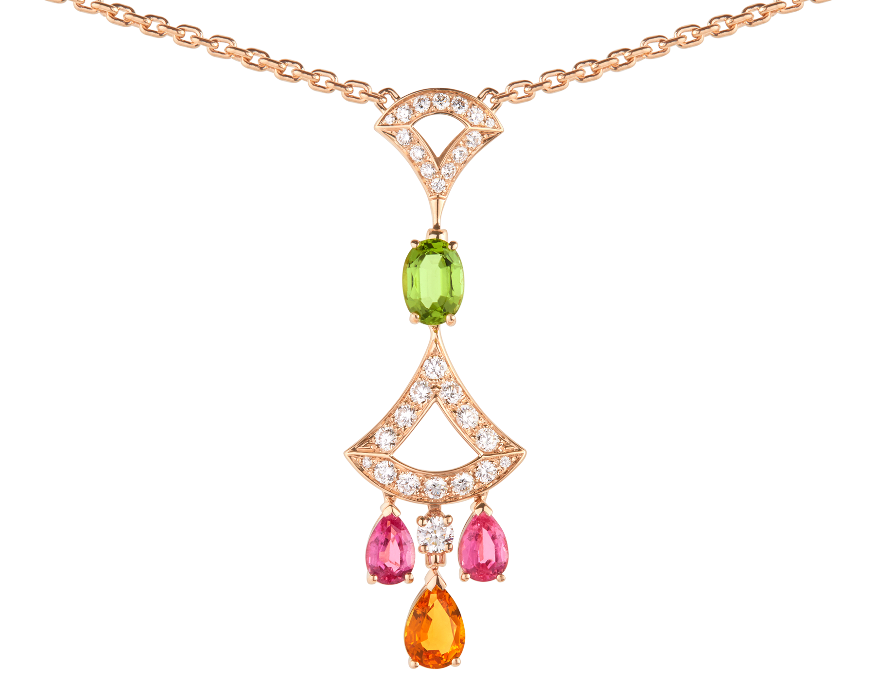 DIVAS' DREAM 18 kt rose gold necklace set with coloured gemstones, a brilliant-cut diamond and pavé diamonds. 355613 image 3