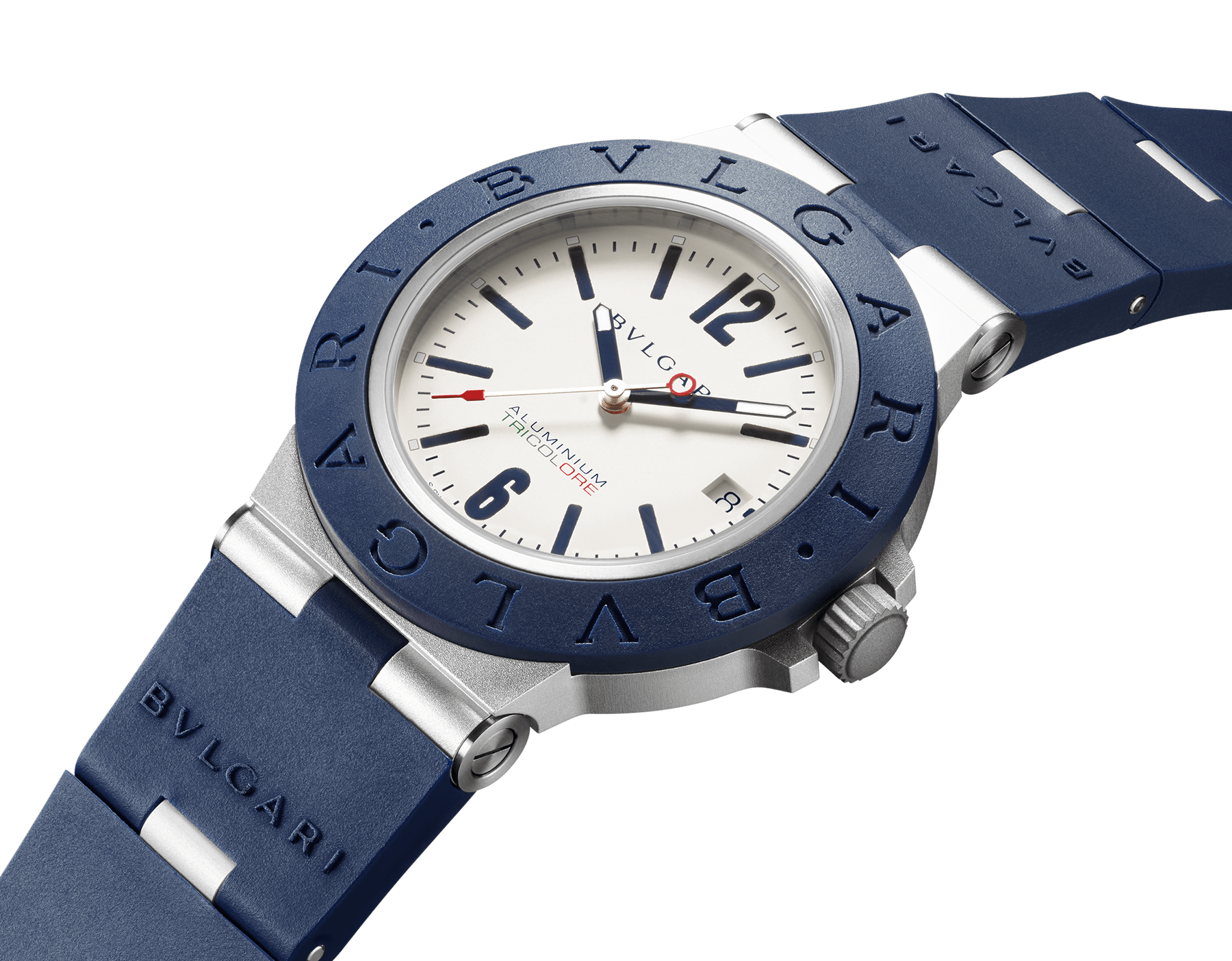 Bvlgari Aluminium Tricolore watch with mechanical movement, automatic winding and date, 40 mm aluminium and titanium case, blue rubber bezel with BVLGARI BVLGARI engraving, warm grey dial with special TRICOLORE logo, and blue rubber bracelet. Water-resistant up to 100 metres. Limited Edition 103514 image 2