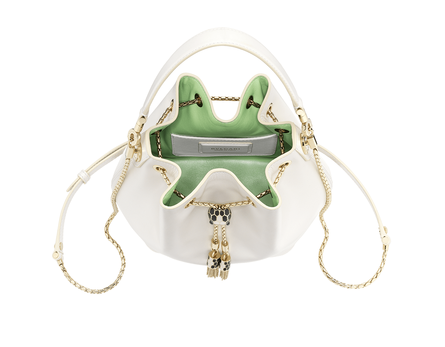 """Serpenti Forever"" bucket in white agate smooth calf leather and mint nappa internal lining. Hardware in light gold plated brass and snakehead closure in black and white agate enamel, with eyes in black onyx. 934-CLa image 2"