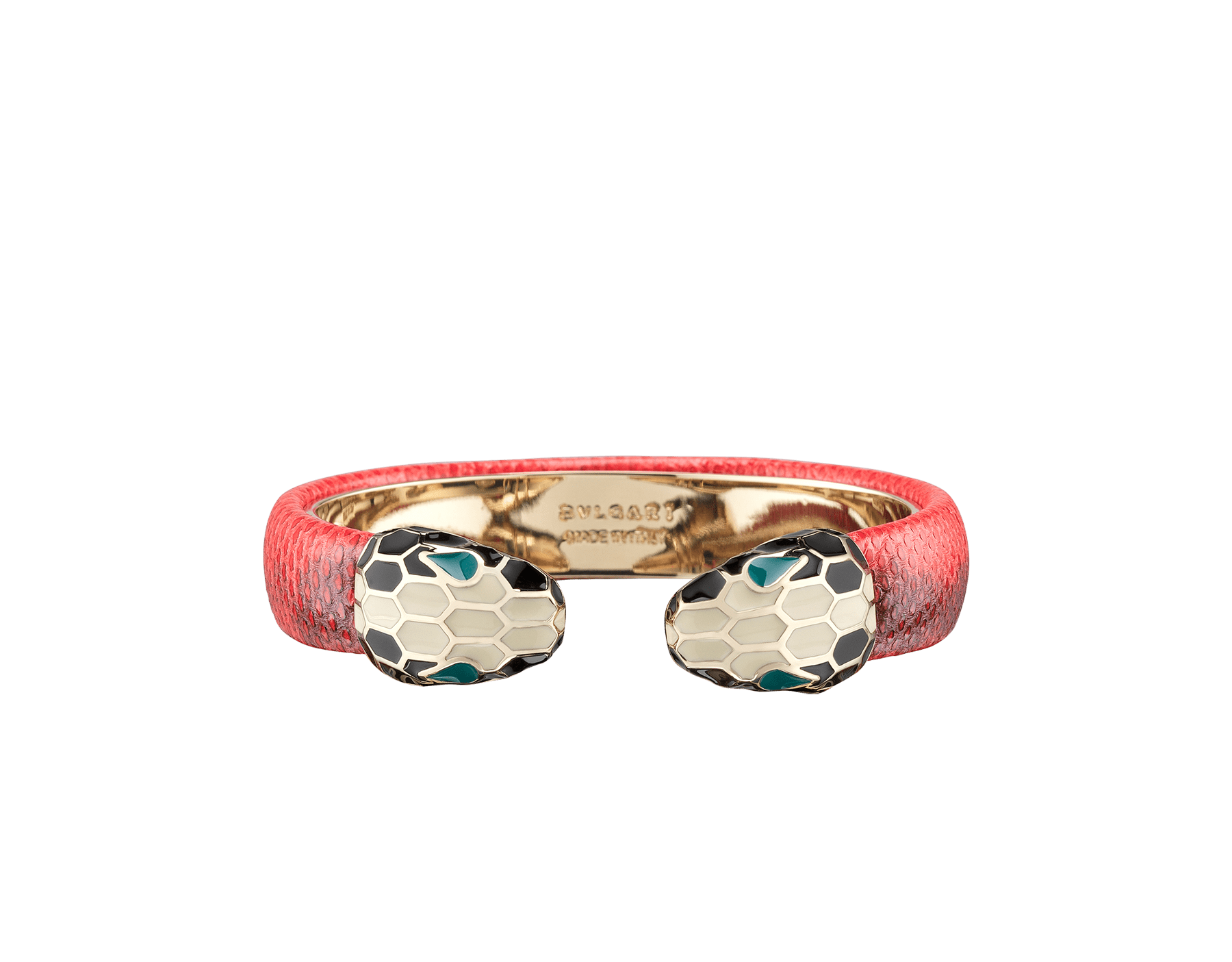 Serpenti Forever bangle bracelet in sea star coral shiny karung skin, with brass light gold plated hardware. Iconic contraire snakehead décor in black and white enamel, with green enamel eyes. SPContr-SK-SSC image 1