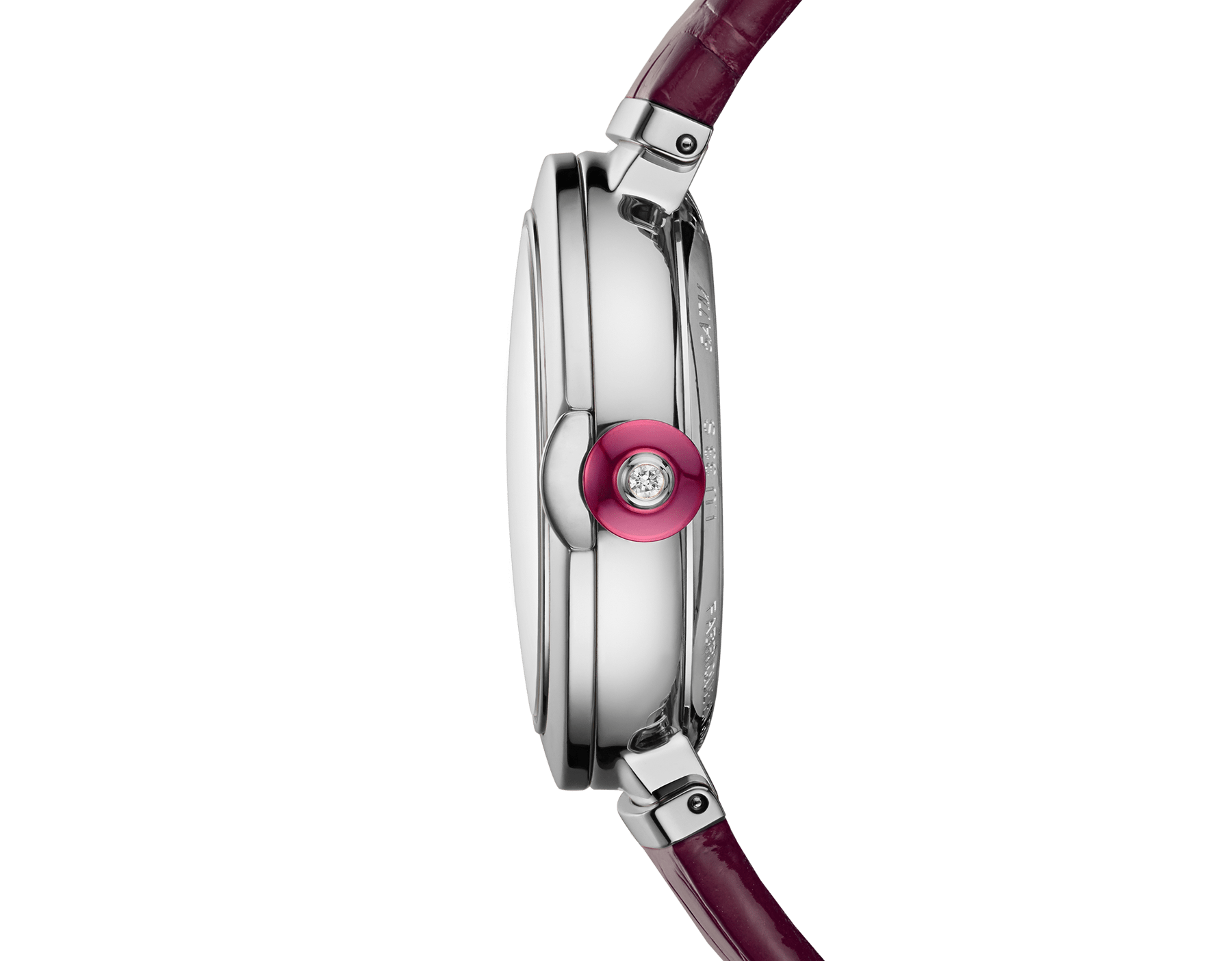 LVCEA watch with stainless steel case, pink mother-of-pearl dial, diamond indexes and burgundy alligator bracelet. 102609 image 2