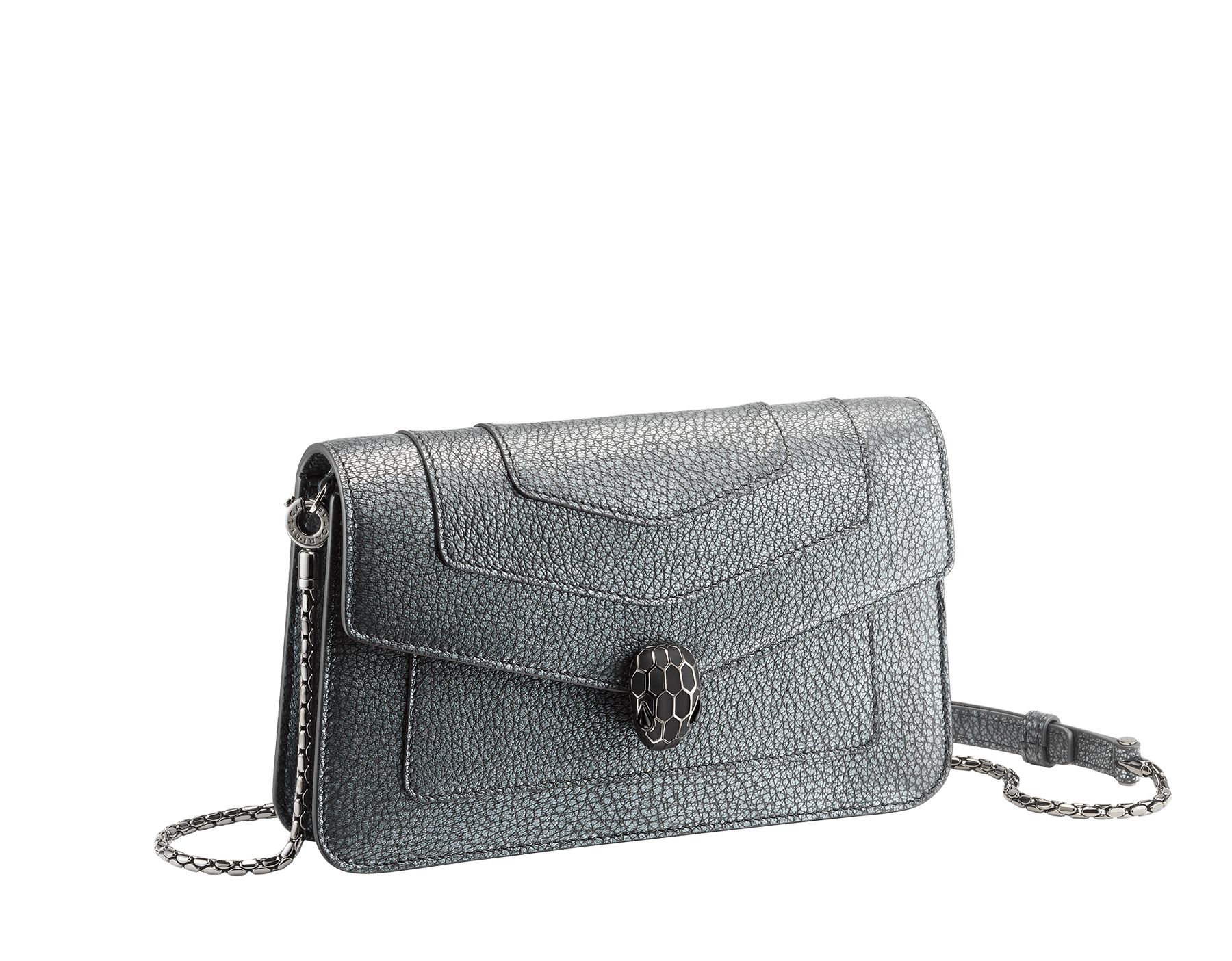 """Serpenti Forever"" new chain wallet in Charcoal Diamond grey goatskin with a pearled effect and black nappa leather. Brass dark ruthenium plated iconic snakehead stud closure enameled in matte and shiny black, finished with black onyx eyes. SEA-CHAINPOCHETTE-PSL image 1"
