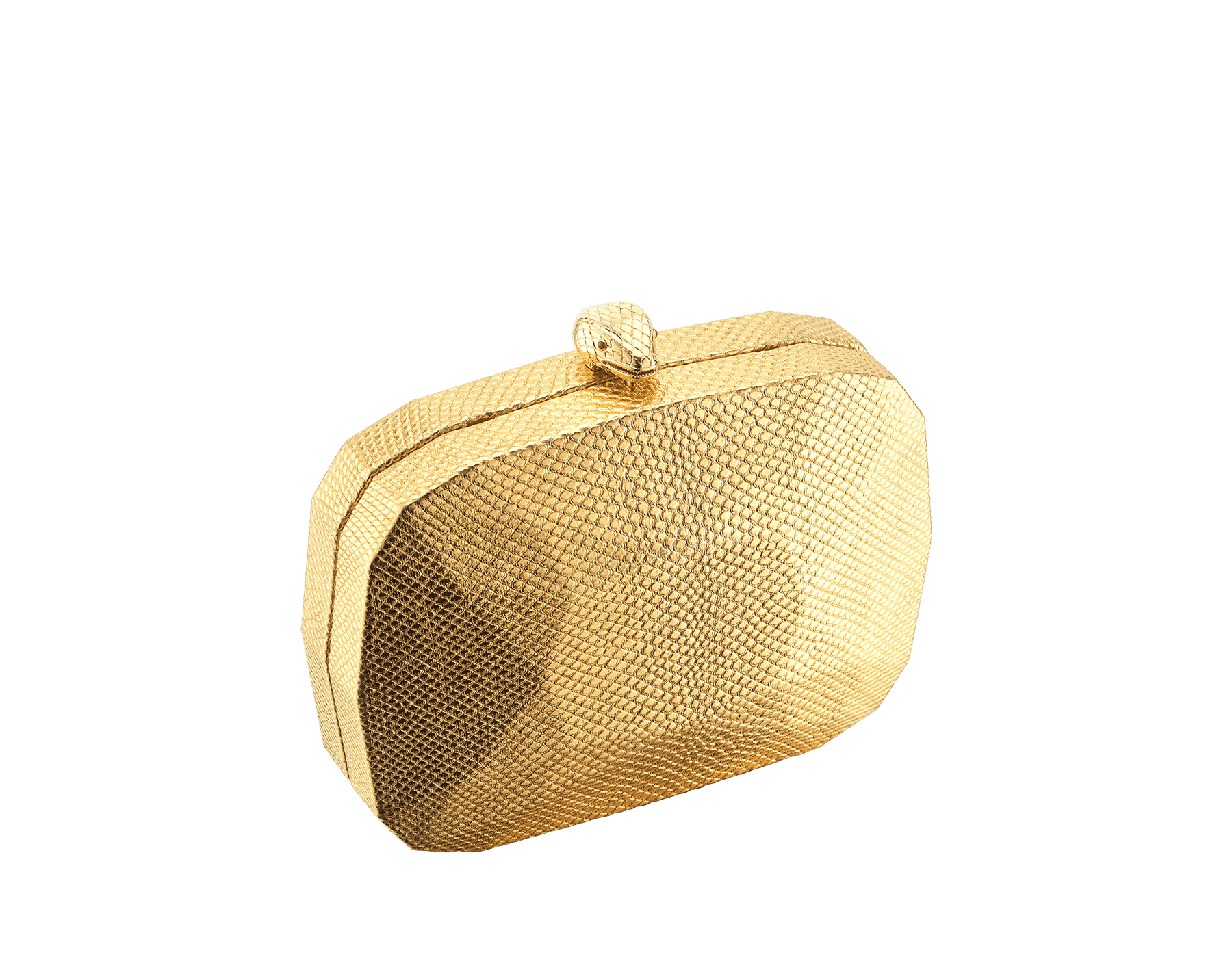 """""""BVLGARI Cocktail"""" hard clutch in """"Molten"""" gold karung skin with black nappa leather inner lining. New Serpenti head closure in gold-plated brass complete with ruby-red enamel eyes. 526-BRILLIANTCUT image 1"""
