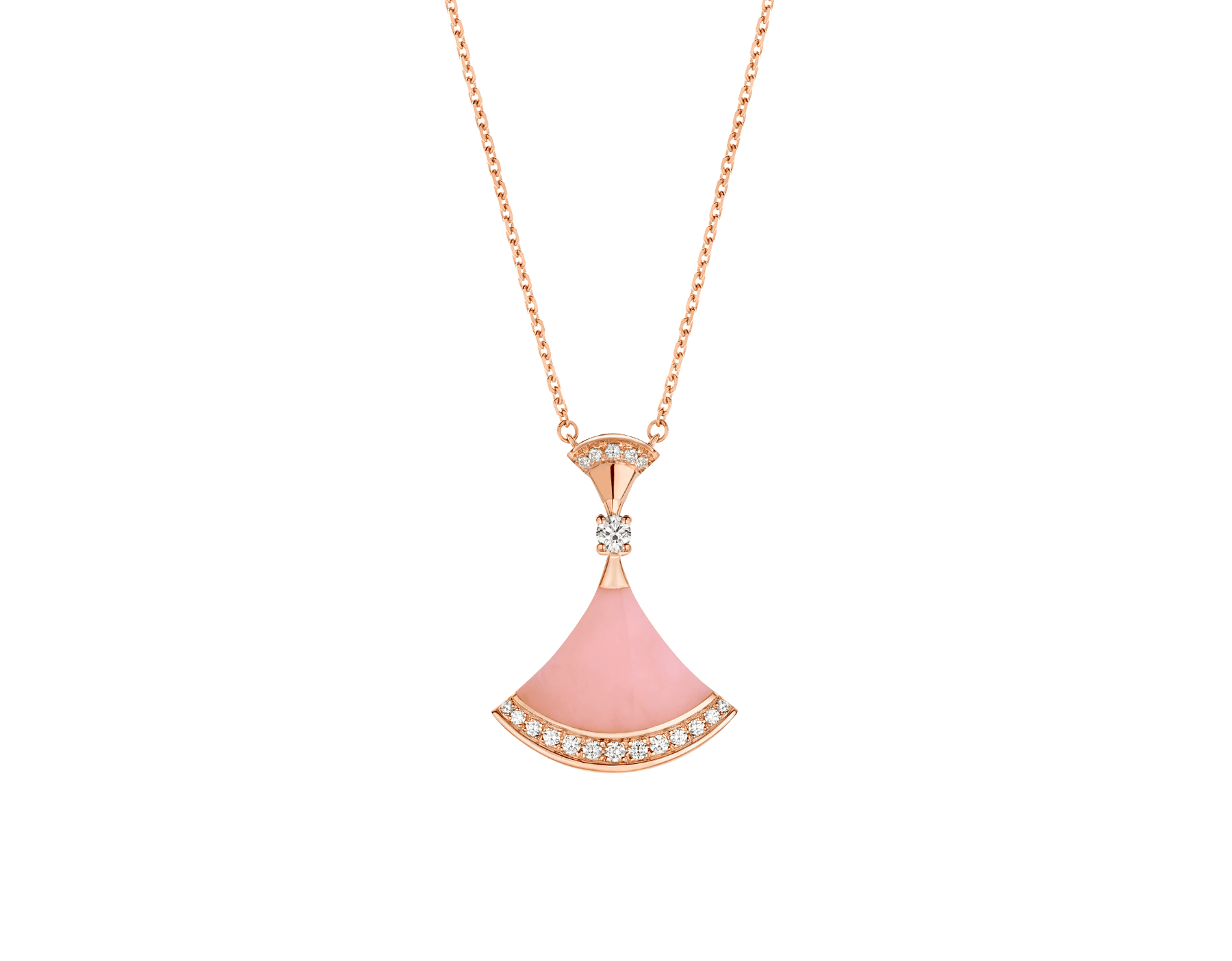 DIVAS' DREAM necklace in 18 kt rose gold, with pendant set with pink opal, a diamond (0.10 ct) and pavé diamonds (0.20 ct). 354340 image 2