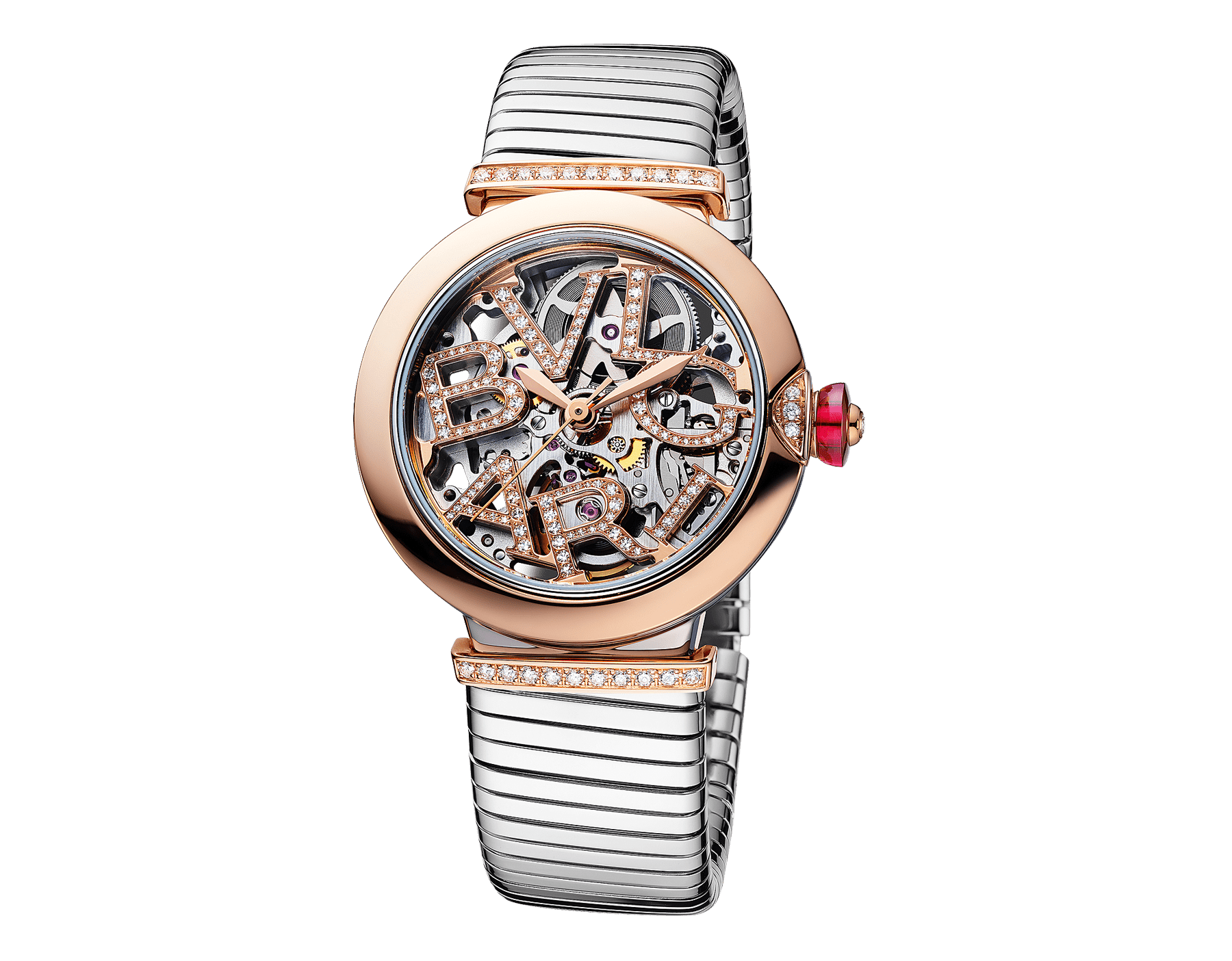 LVCEA Skeleton watch with mechanical movement, automatic winding, stainless steel case, 18 kt rose gold bezel with diamond detail, 18 kt rose gold openwork BVLGARI logo dial and links both set with round brilliant-cut diamonds, and stainless steel tubogas bracelet 103093 image 2