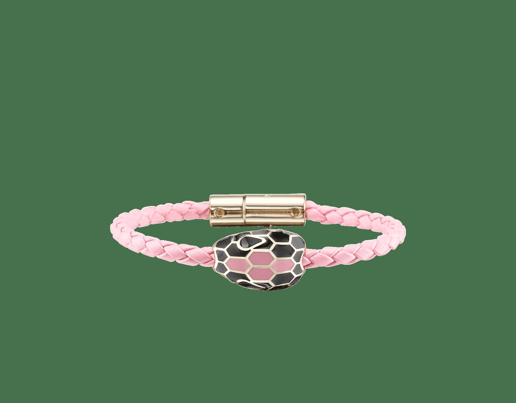 Serpenti Forever braid bracelet in flamingo quartz woven calf leather with an iconic snakehead décor in black and flamingo quartz enamel. SerpBraid-WCL-FQ image 1
