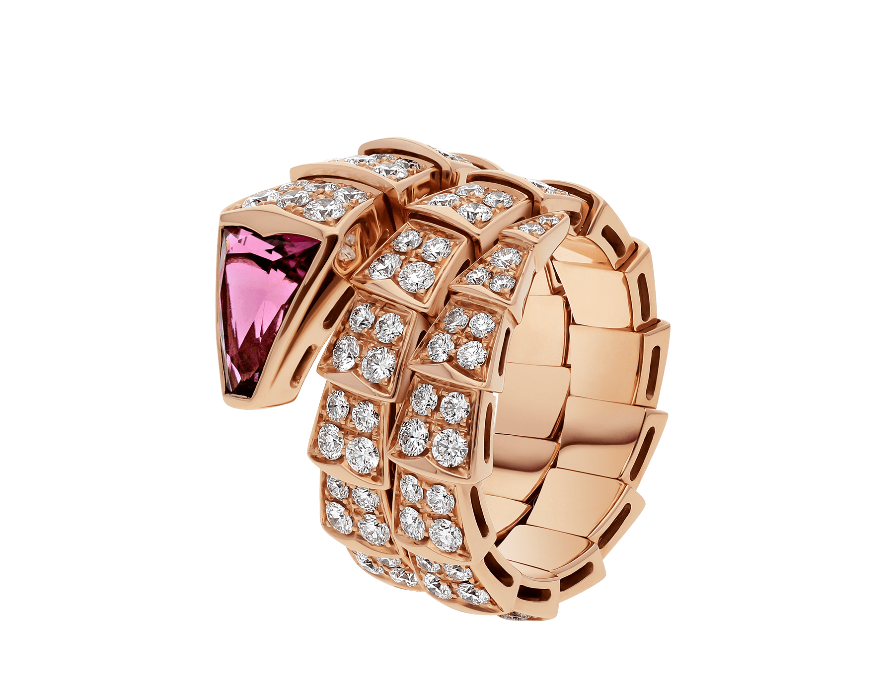 Serpenti two-coil ring in 18 kt rose gold, set with full pavé diamonds and a rubellite on the head. AN856156 image 1