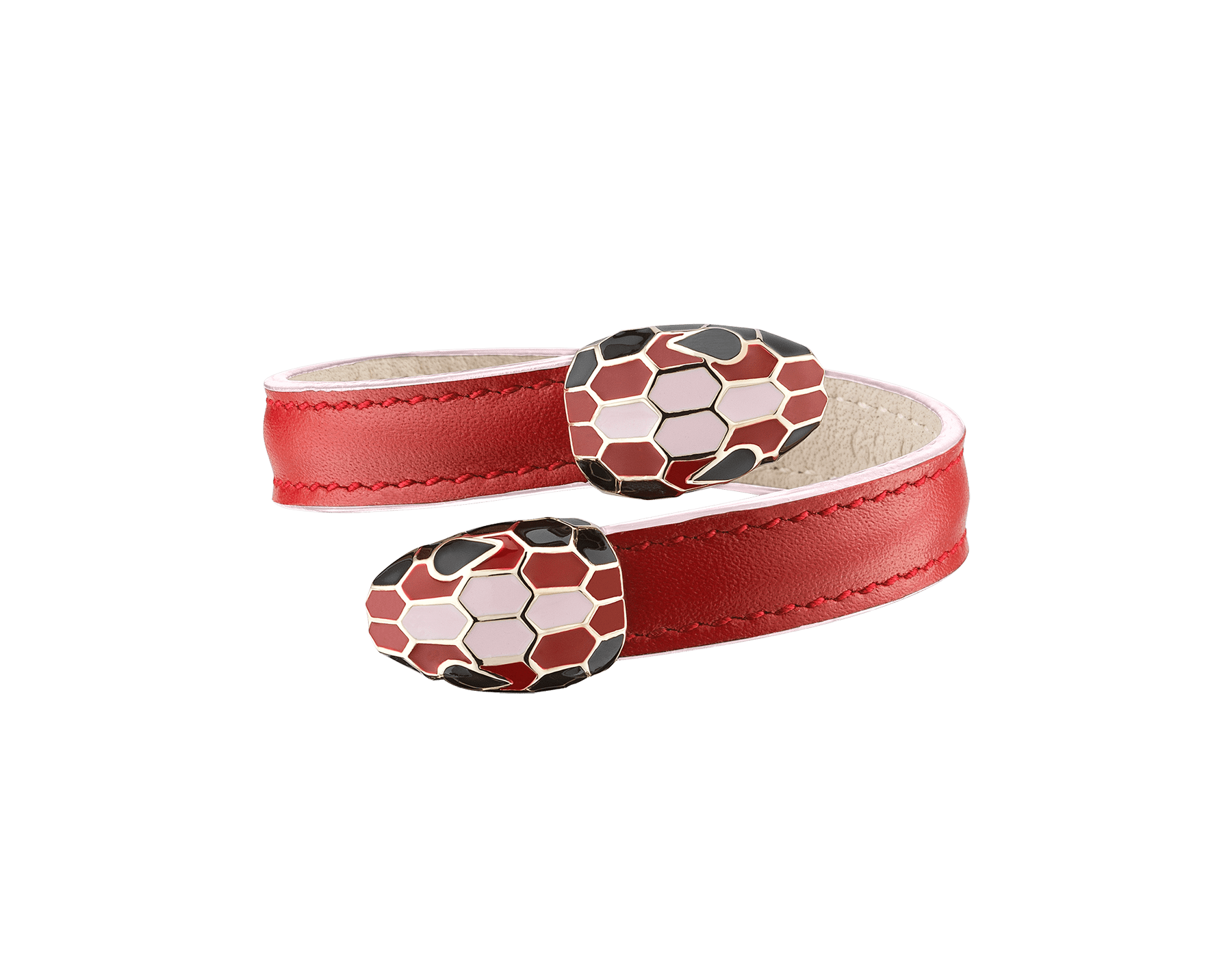 Serpenti Forever Celebration Edition soft bangle bracelet in carmine jasper calf leather and rosa di Francia edges, with light gold plated brass hardware. Contraire double snakehead décor with black, carmine jasper and rosa di Francia enamel, and black enamel eyes. 289544 image 1