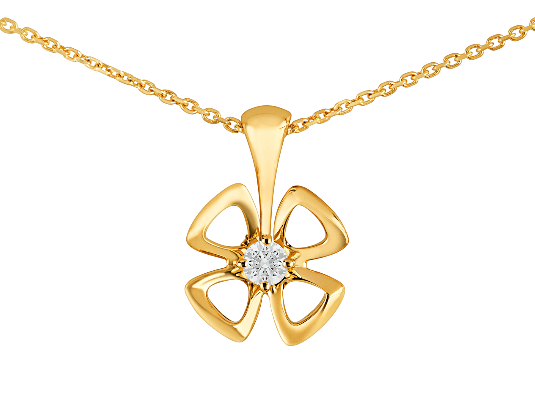 Fiorever 18 kt yellow gold necklace set with a central diamond. 357501 image 3