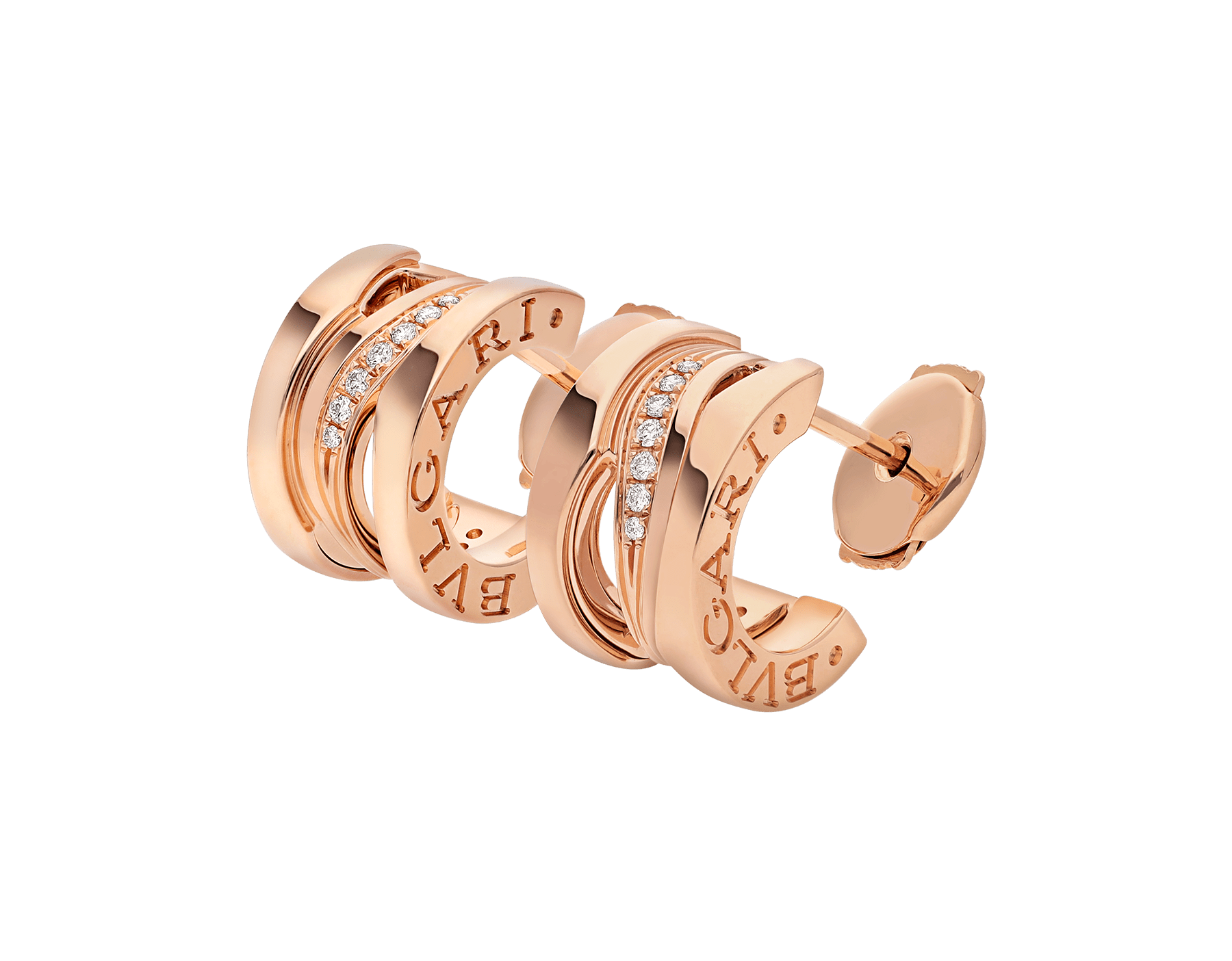 B.zero1 Design Legend 18 kt rose gold earrings set with pavé diamonds on the spiral. 356131 image 2
