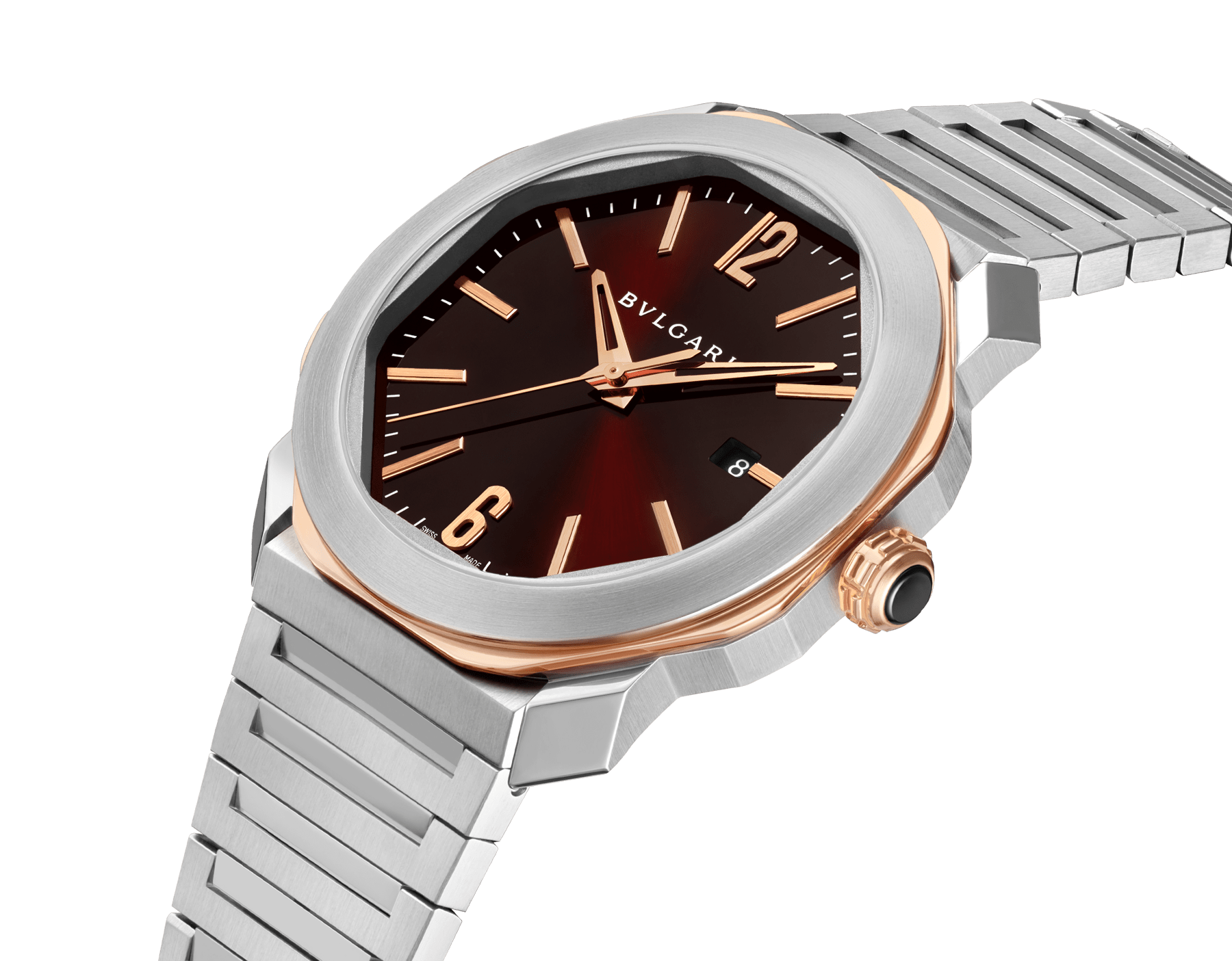 Octo Roma watch with mechanical manufacture movement, automatic winding, stainless steel case and bracelet, 18 kt rose gold octagon and brown dial. Water-resistant up to 50 meters. 103210 image 2