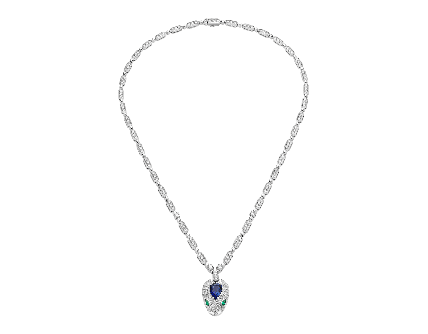 Serpenti 18 kt white gold necklace set with a blue sapphire on the head, emerald eyes and pavé diamonds 355354 image 1