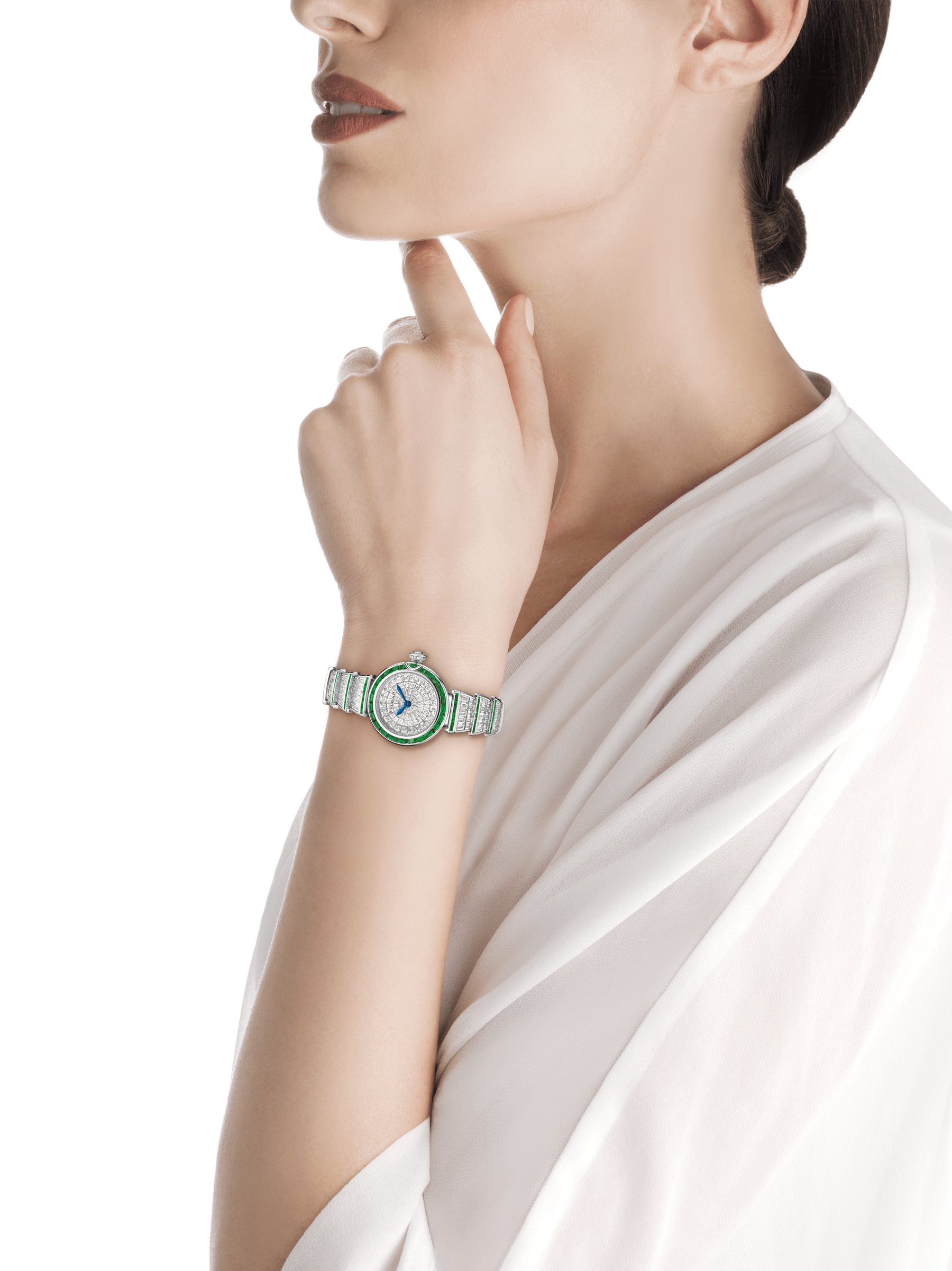 LVCEA watch in 18kt white gold case and bracelet, both set with baguette diamonds and emeralds and full diamond dial. 102466 image 4