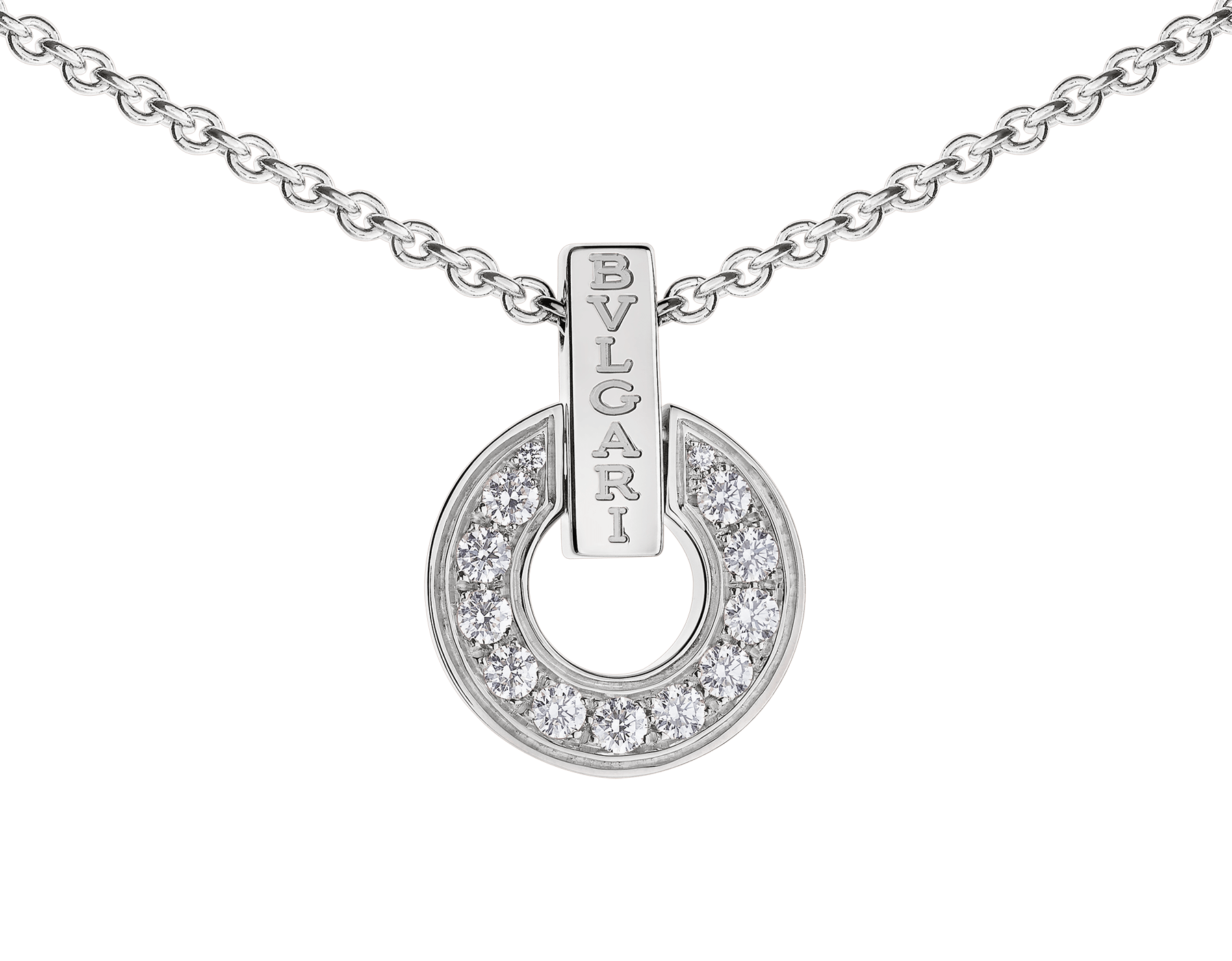 BVLGARI BVLGARI openwork 18 kt white gold necklace set with full pavé diamonds on the pendant 357938 image 3