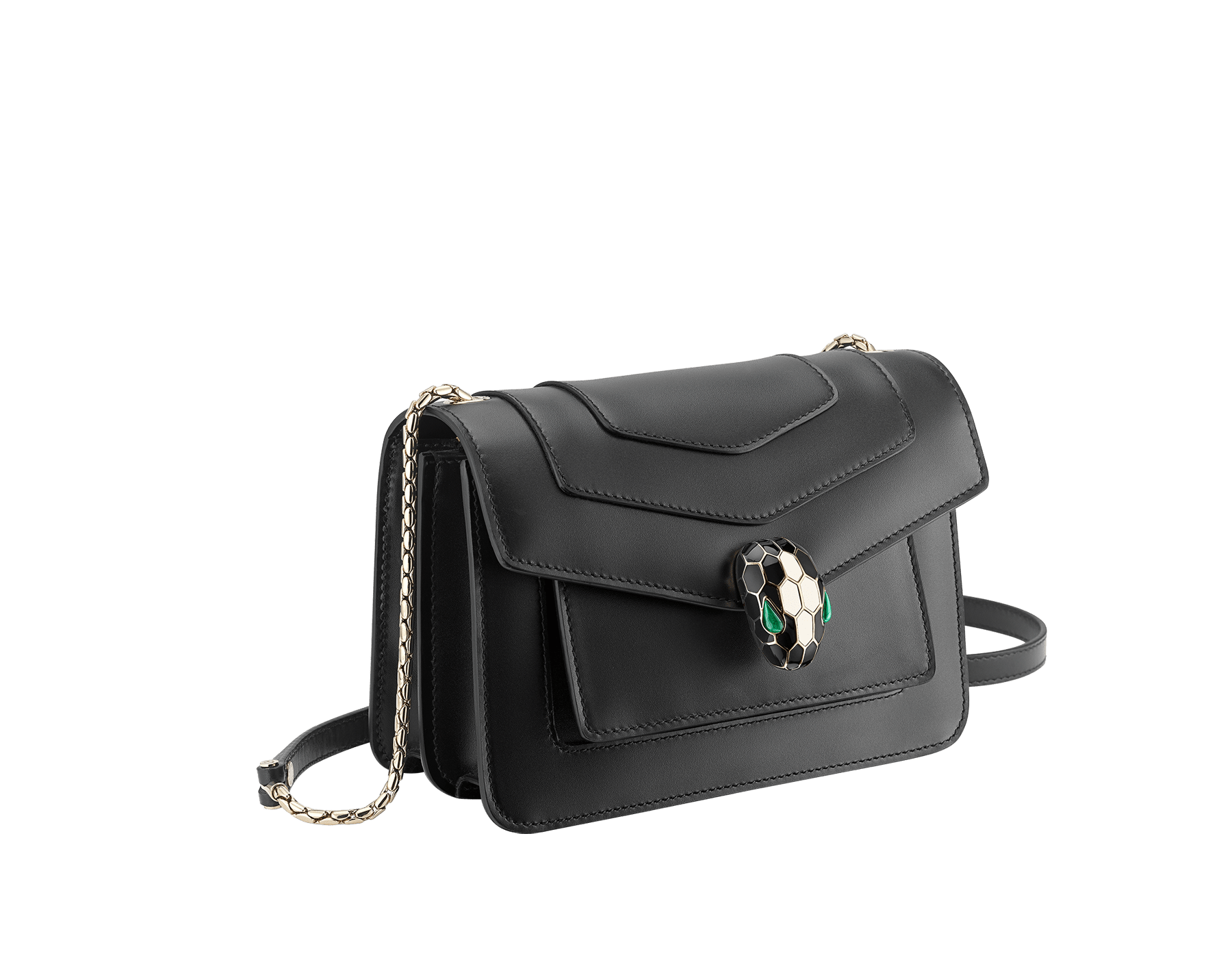 """Serpenti Forever"" crossbody bag in black calf leather. Iconic snakehead closure in light gold plated brass enriched with black and white agate enamel and green malachite eyes. 289677 image 3"