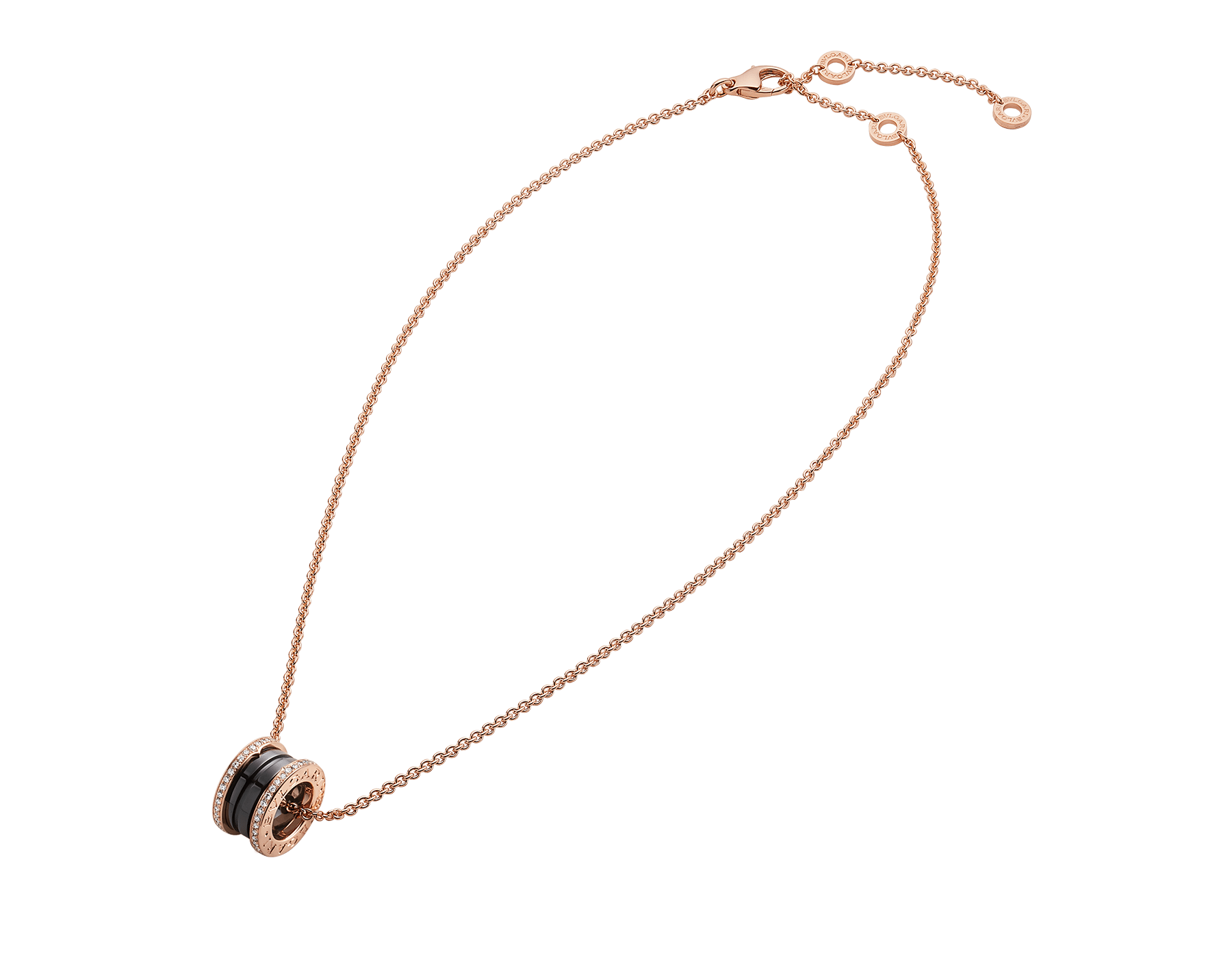 B.zero1 necklace with 18 kt rose gold chain and round pendant with two 18 kt rose gold loops set with pavé diamonds on the edges and a black ceramic spiral. 350056 image 2