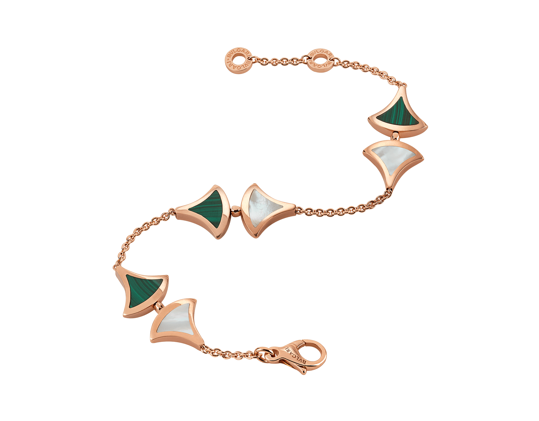 DIVAS' DREAM bracelet in 18 kt rose gold, set with malachite and mother-of-pearl elements. BR857497 image 2